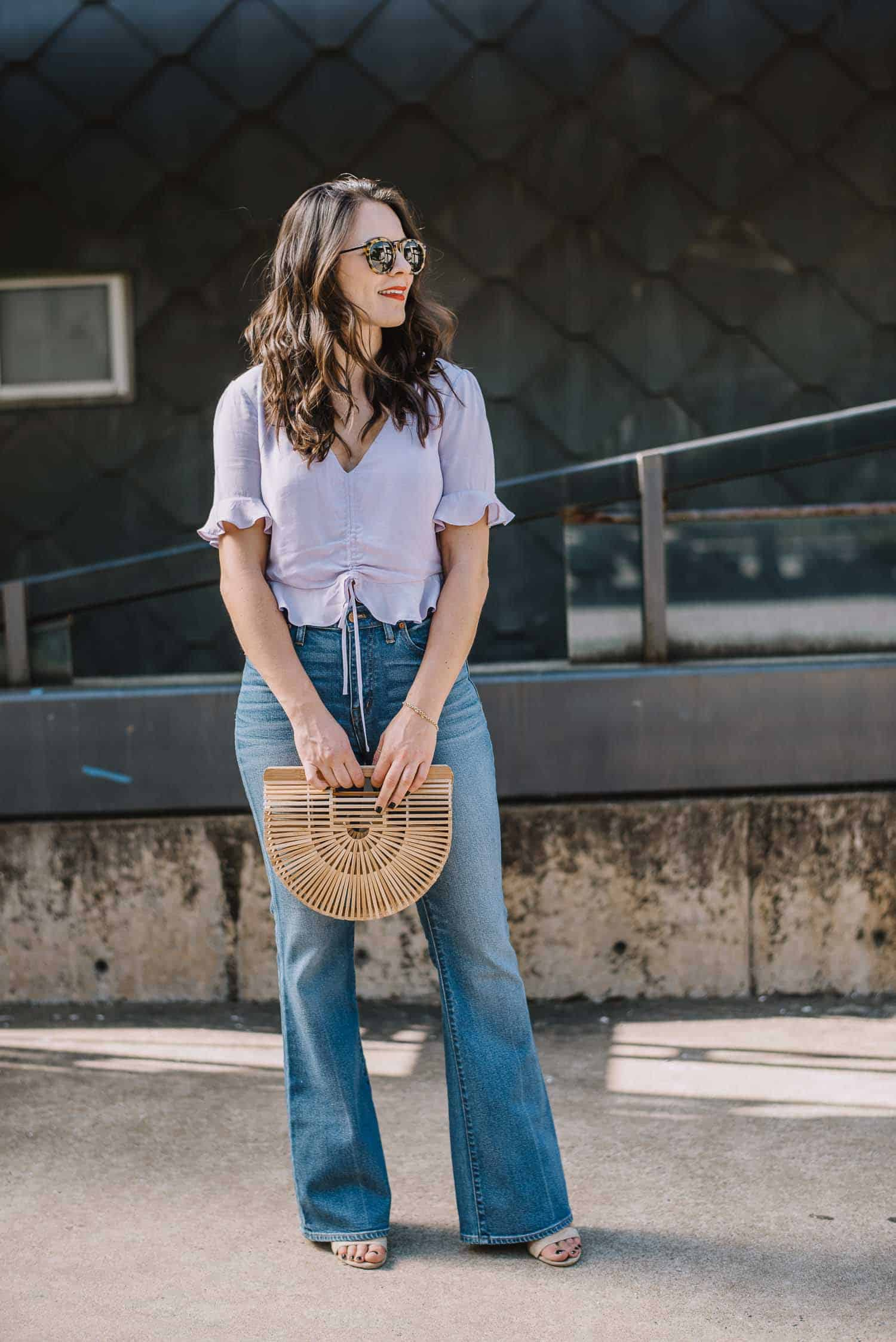 lilac blouse, lavender top, 70s inspired outfit - My Style Vita