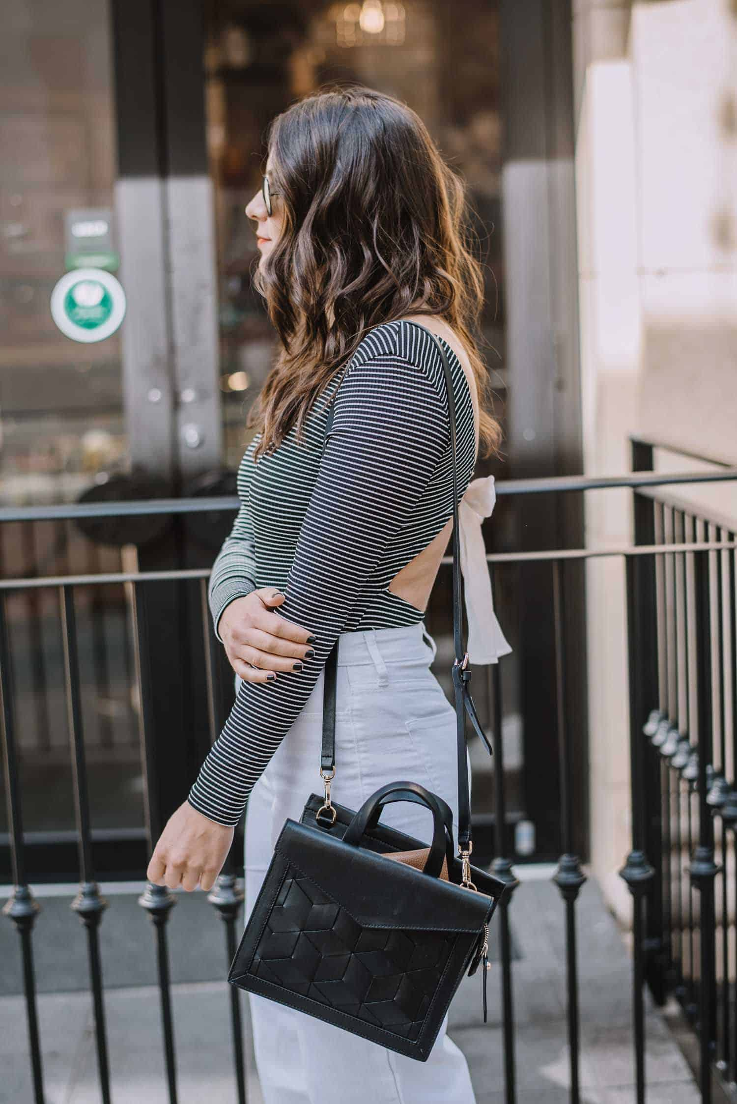 striped bow back bodysuit, wide leg cropped denim, outfit ideas, fashion blog - My Style Vita