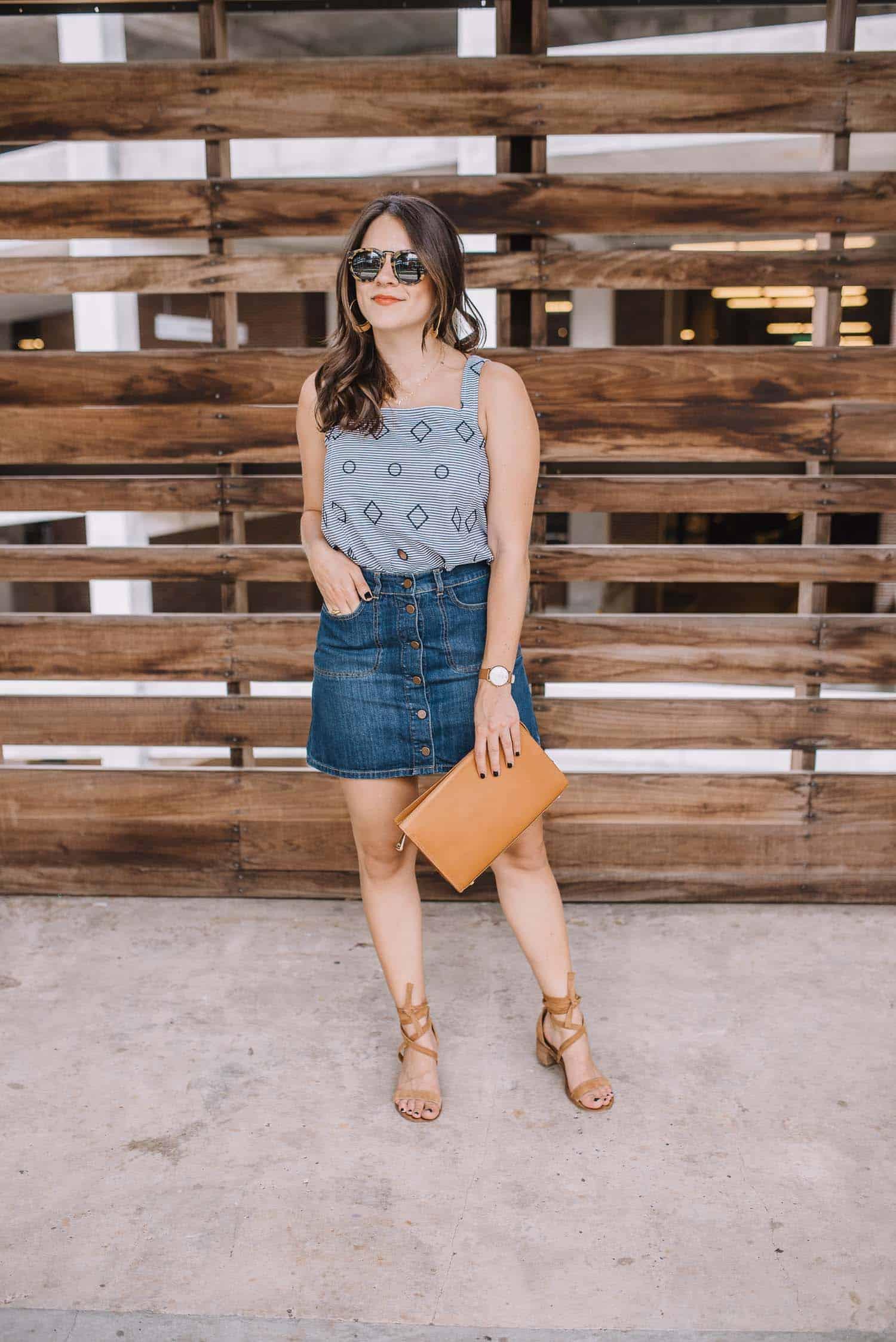 denim mini skirt, geometric print tank - My Style Vita