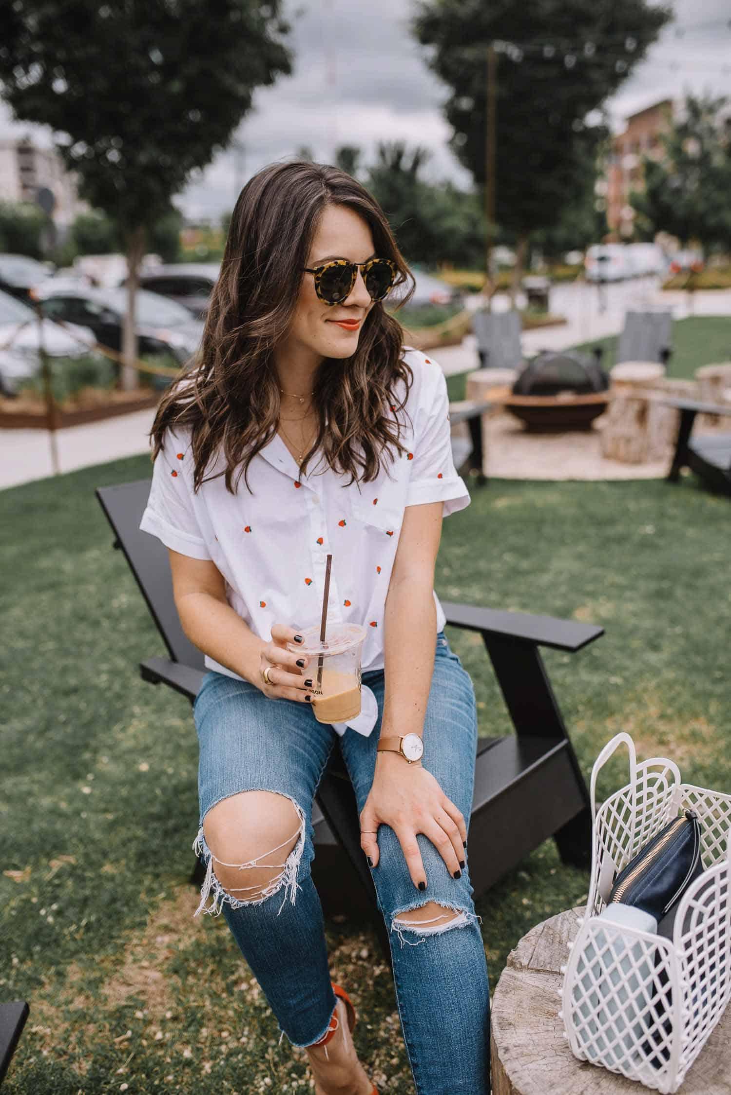 strawberry shirt, cute summer outfits, Sun Jellies Basket Bag - My Style Vita