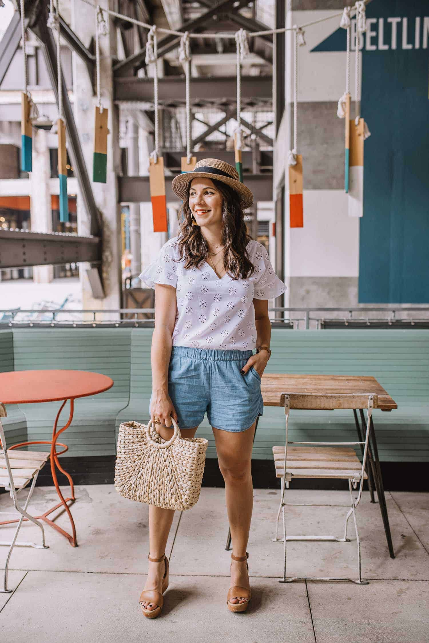white cotton eyelet top, summer outfit ideas, summer boat hat - My Style Vita