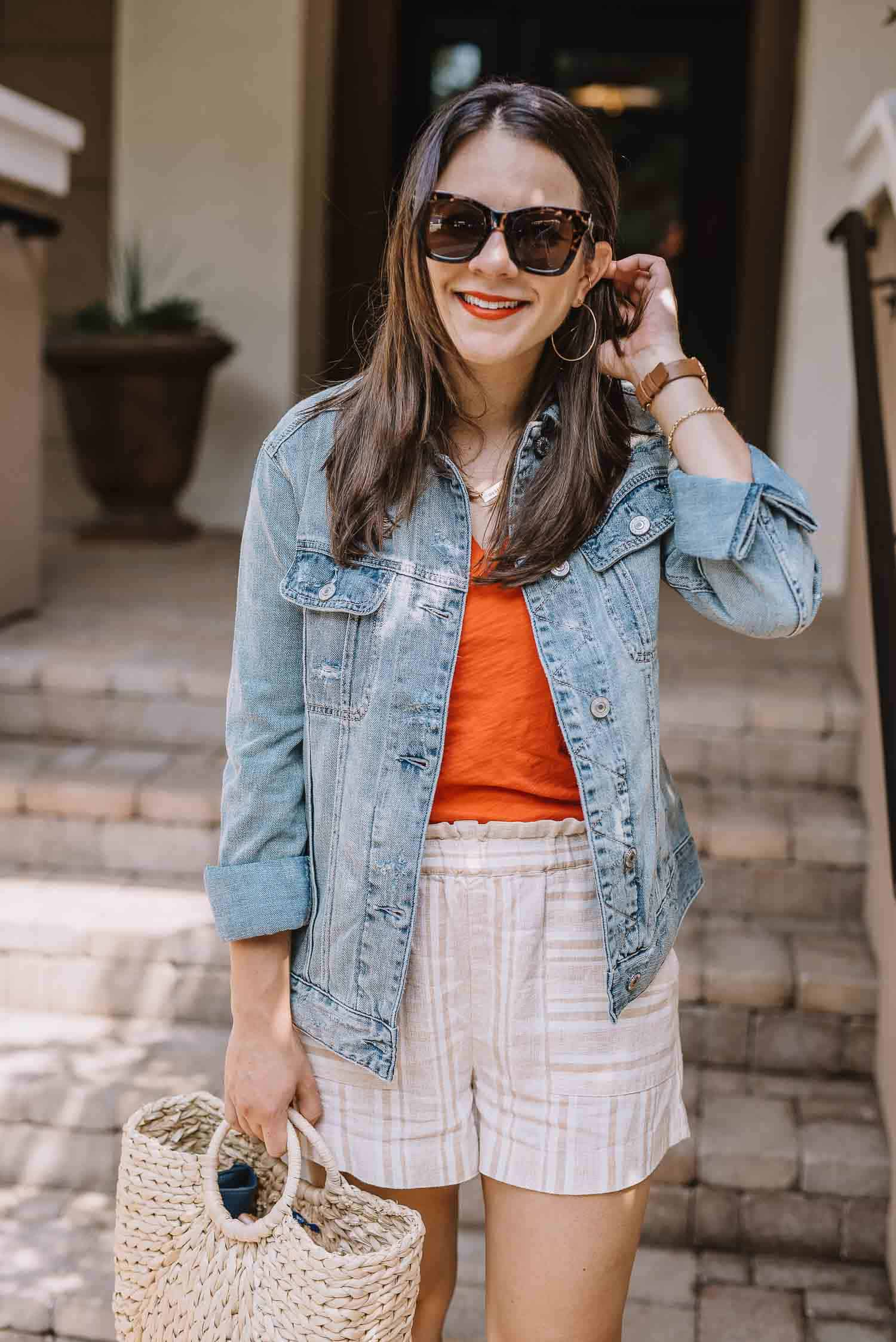 linen striped shorts, best oversized denim jacket - My Style Vita-1