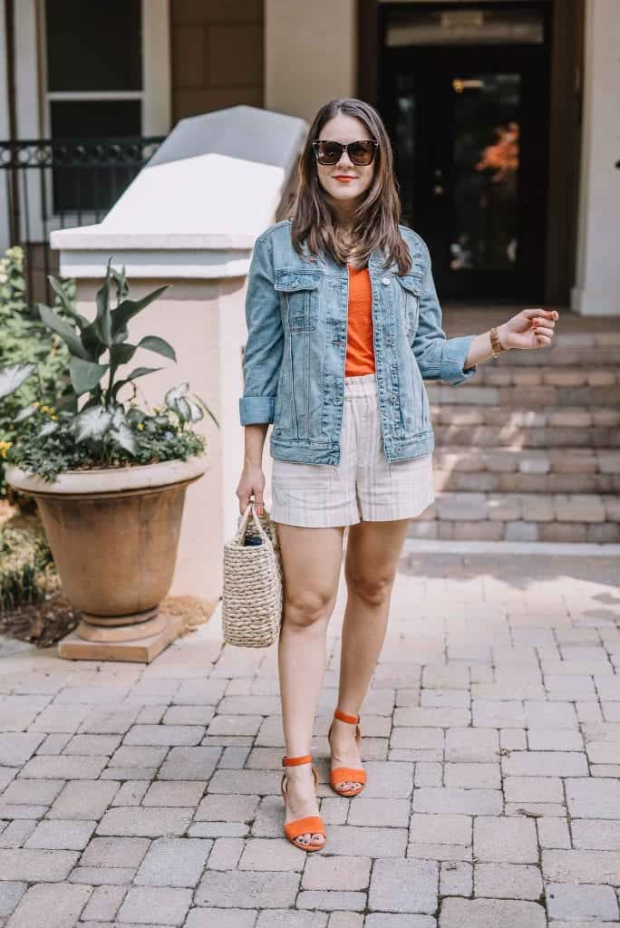 linen striped shorts, best oversized denim jacket - My Style Vita-1