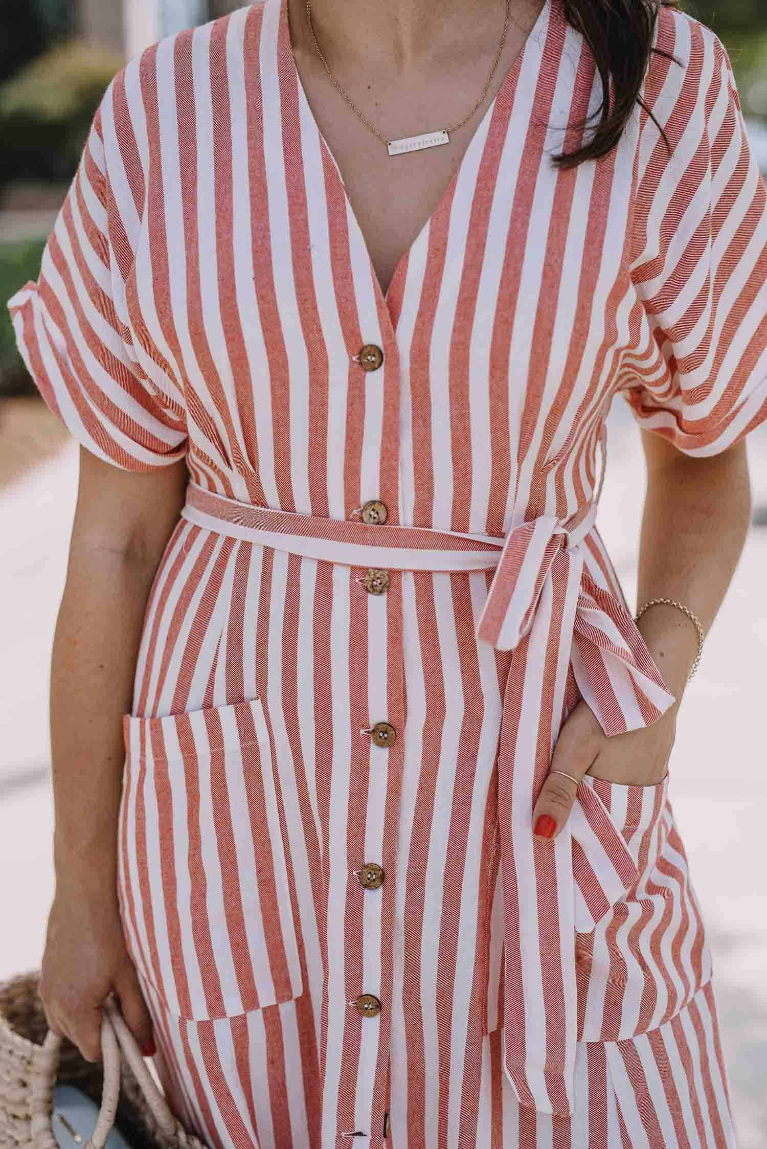 striped button front dress, summer dresses - An Indigo Day