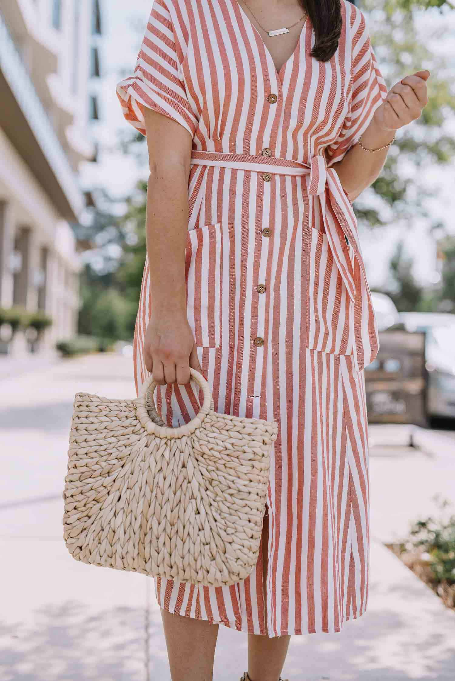 striped button front dress, summer dresses, straw bag - My Style Vita
