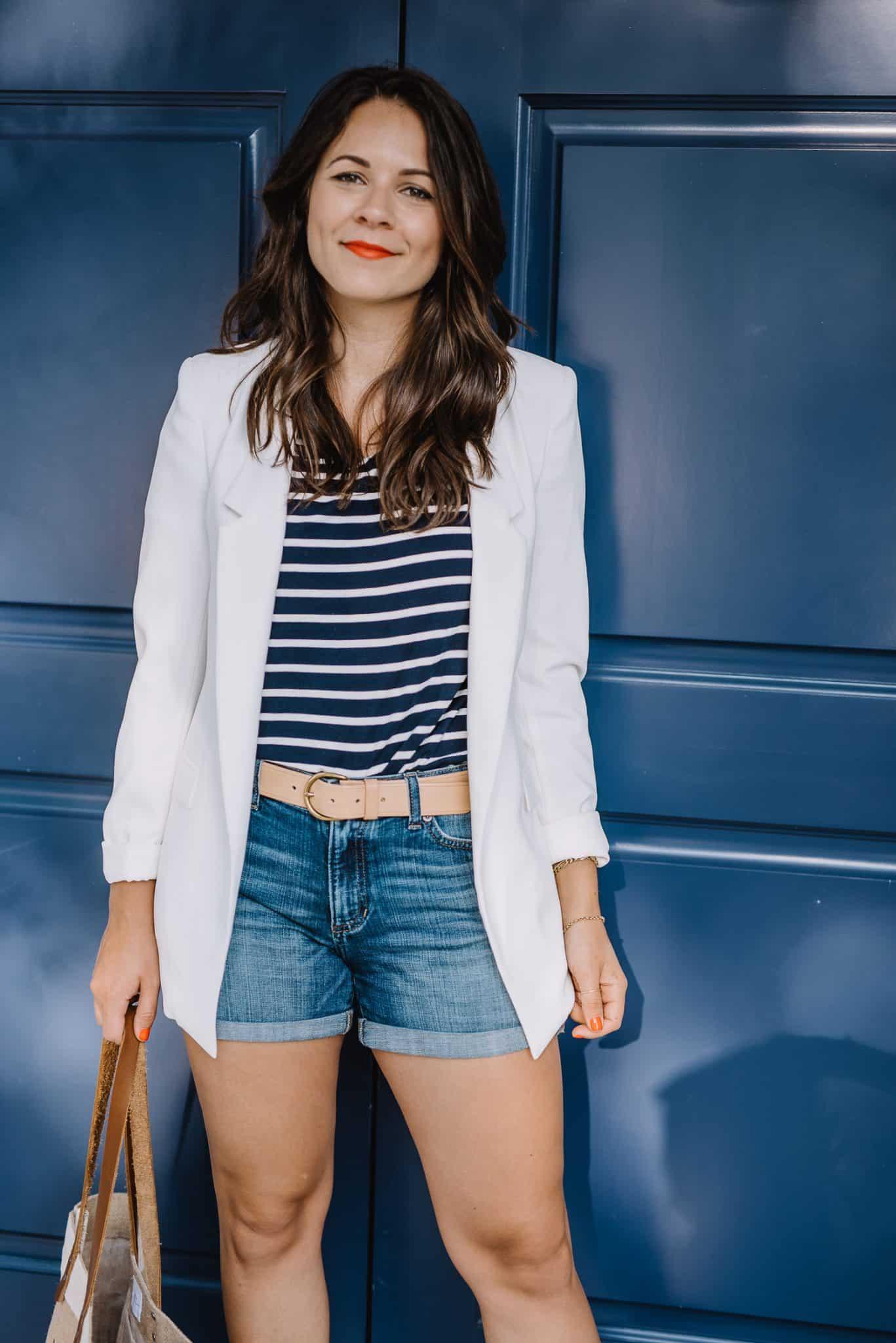 blazer and striped tee, summer dressed up shorts, white blazer with denim shorts - My Style Vita