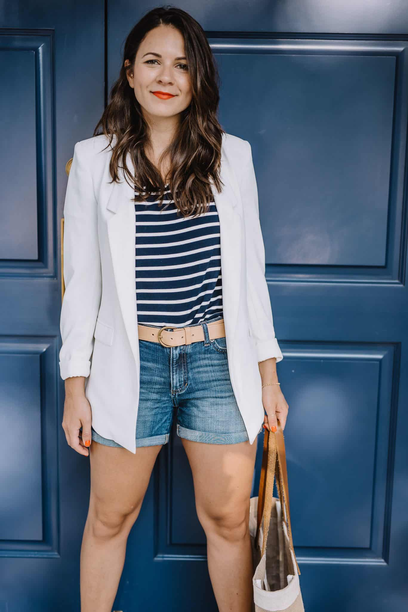 blazer and striped tee, summer dressed up shorts - My Style Vita