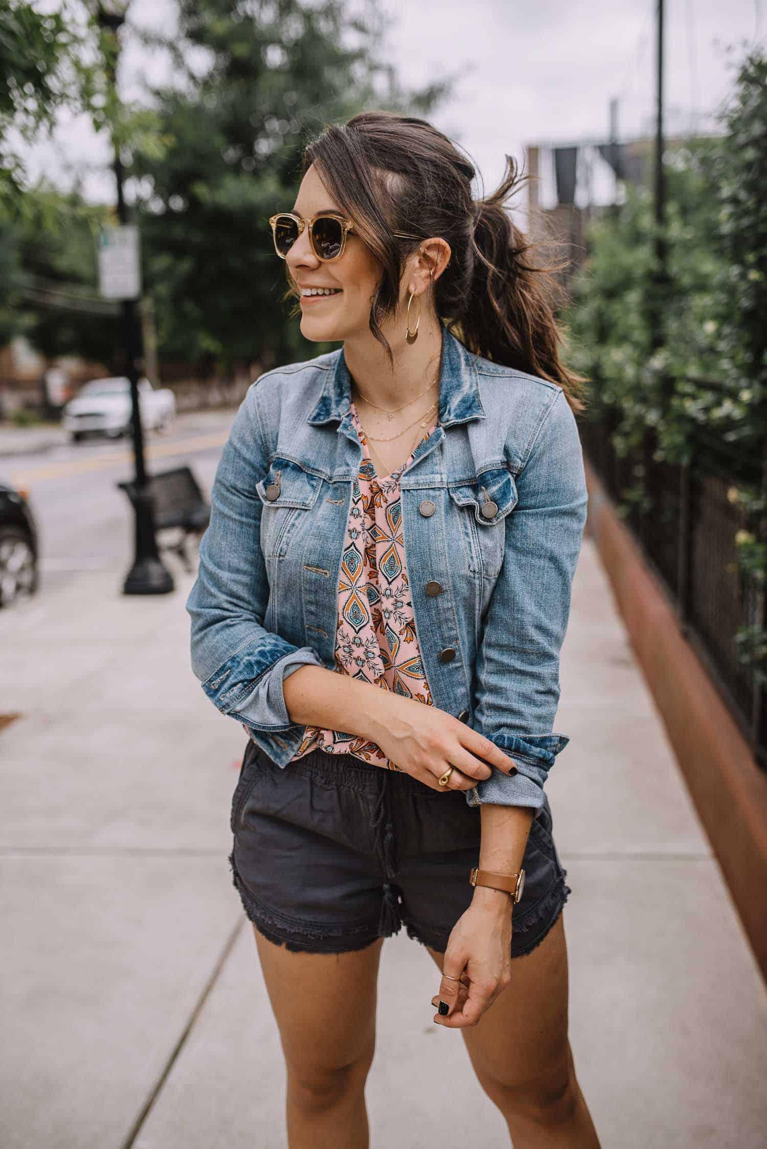 LOFT Kaleidoscope Top, how to style pull on shorts, denim jacket - My Style Vita