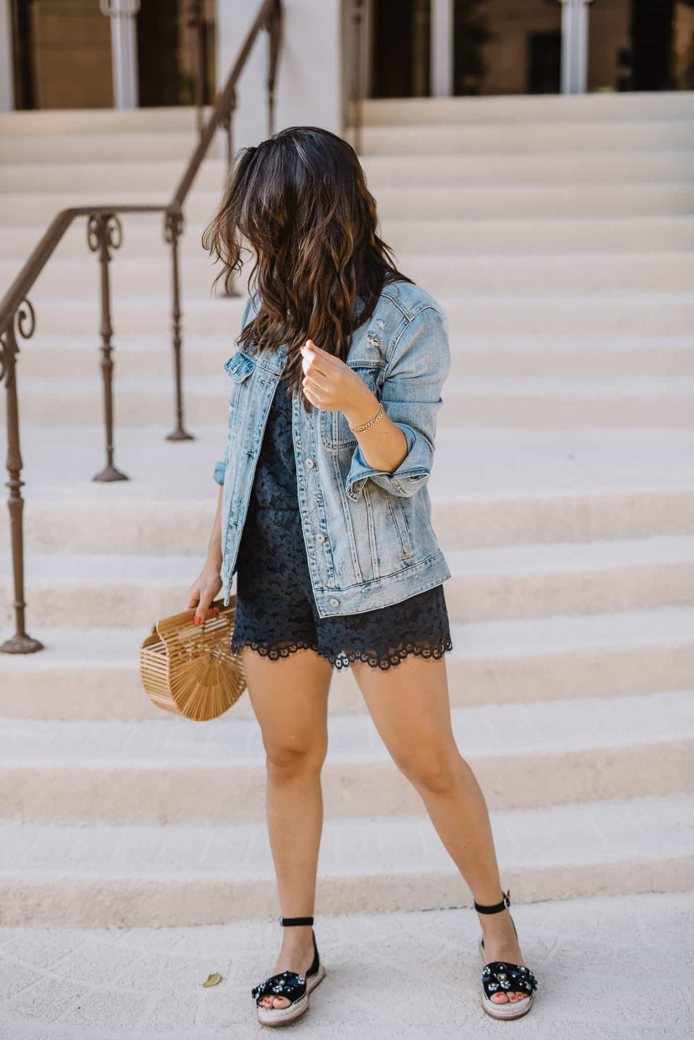 summer outfit ideas with a black romper