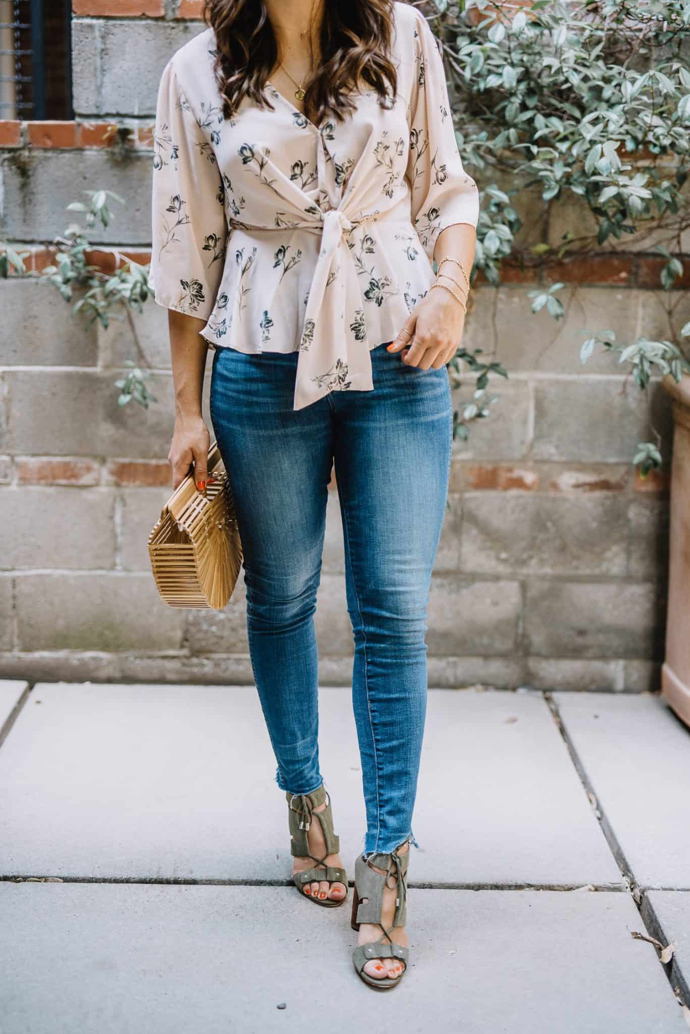 green sandals with a blush top