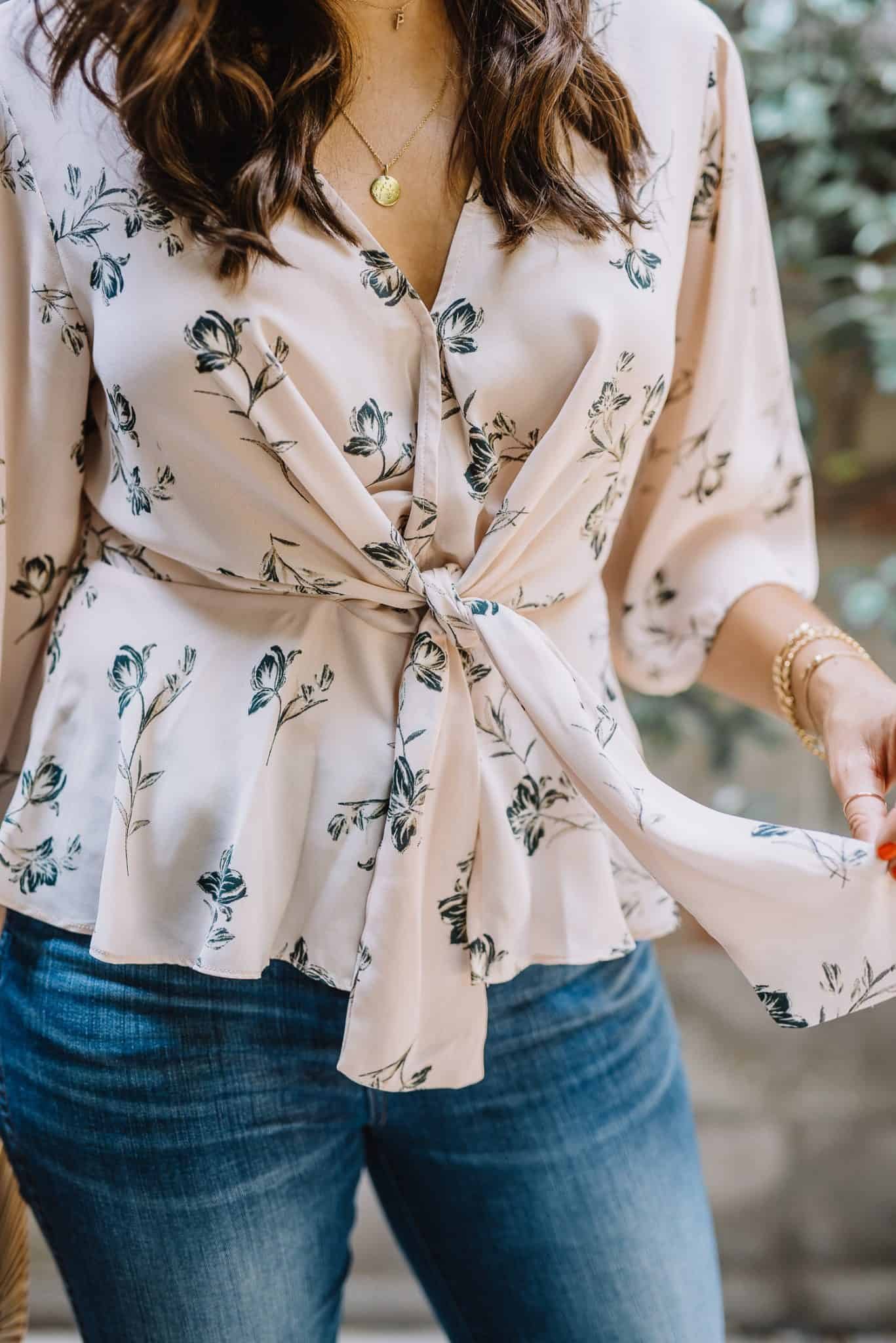 Details from a printed wrap top
