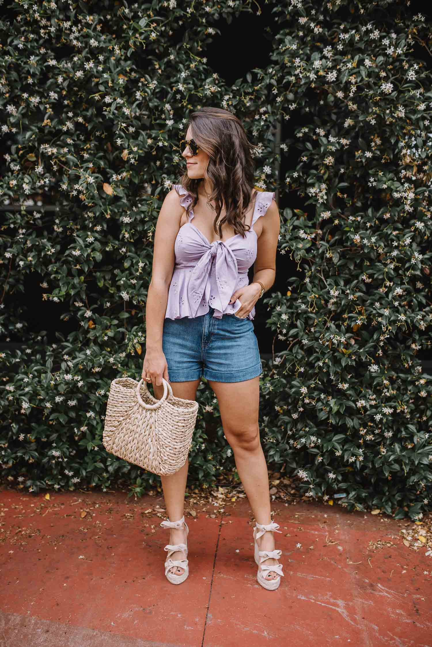 lilac eyelt top, summer outfit ideas, straw bag- My Style Vita