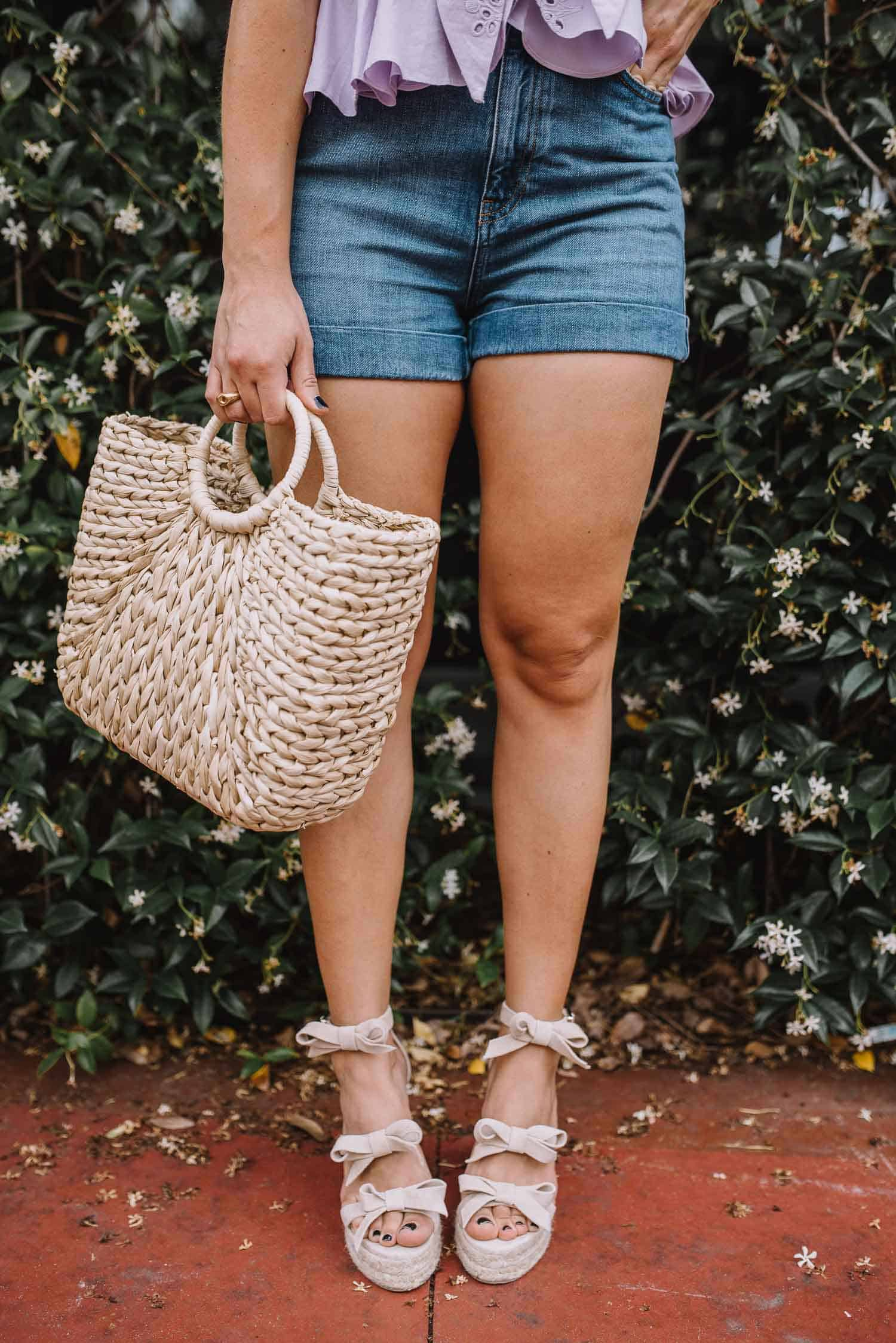 bow wedges, denim shorts, straw bag, summer outfit ideas - My Style Vita