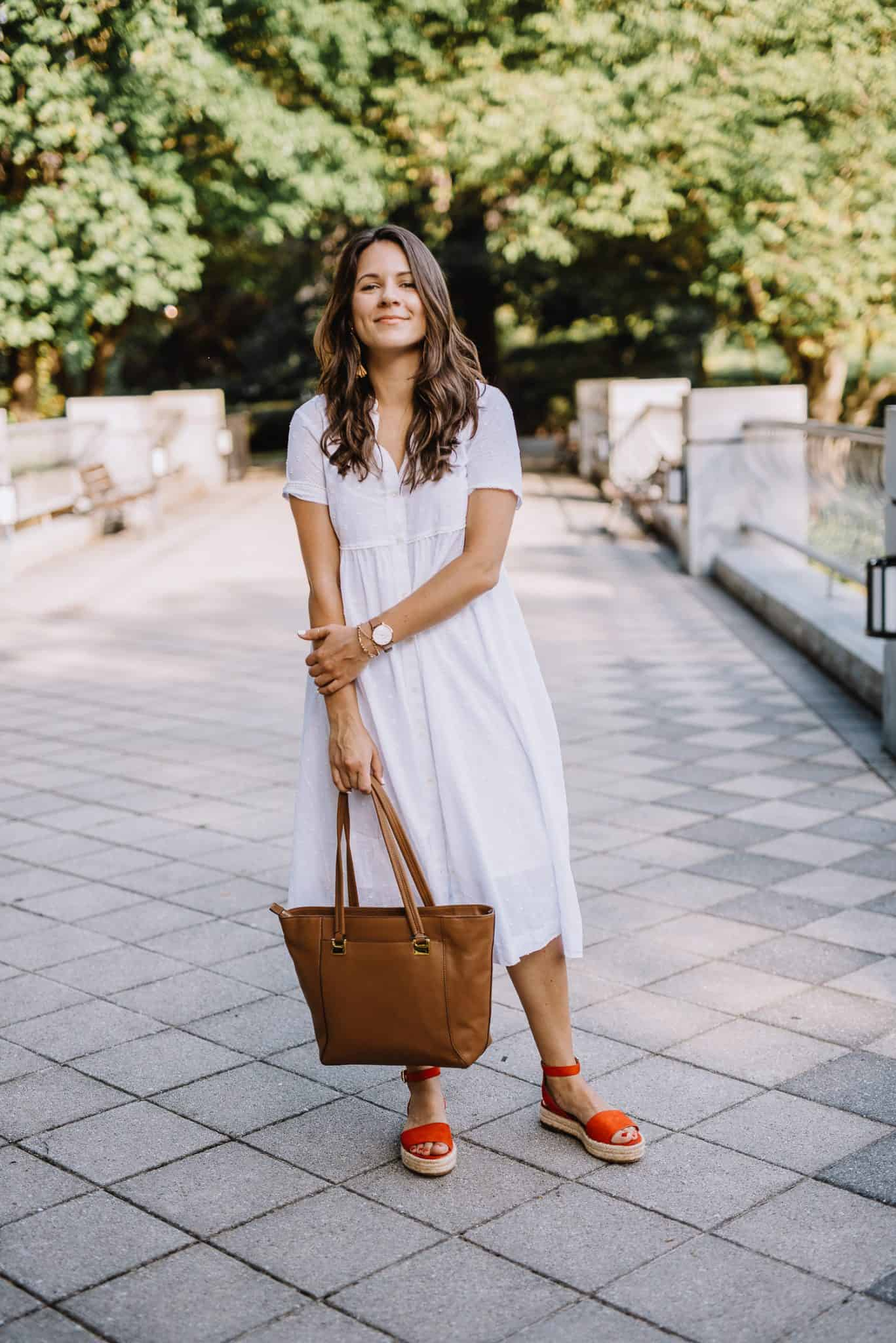red espadrilles, white sundress, summer outfit ideas, how to dress up a white dress - My Style Vita-1