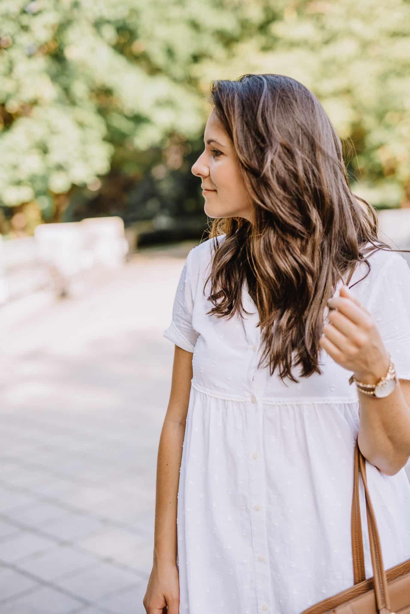 white sundress, balayage - My Style Vita