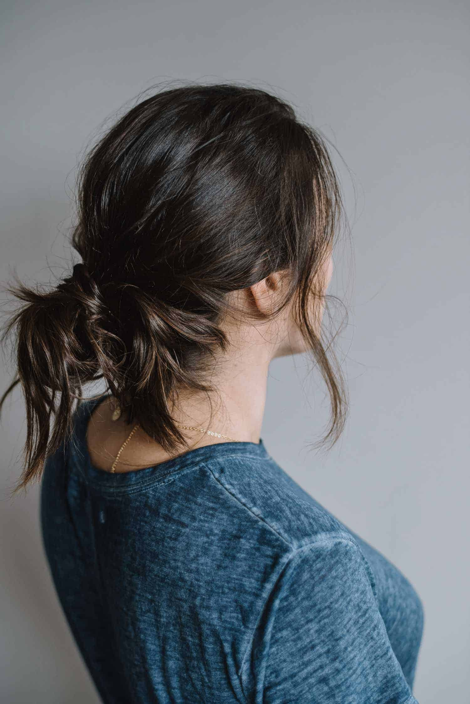 Low bun with braid, how to dress up a ponytail, easy no heat hairstyles - My Style Vita