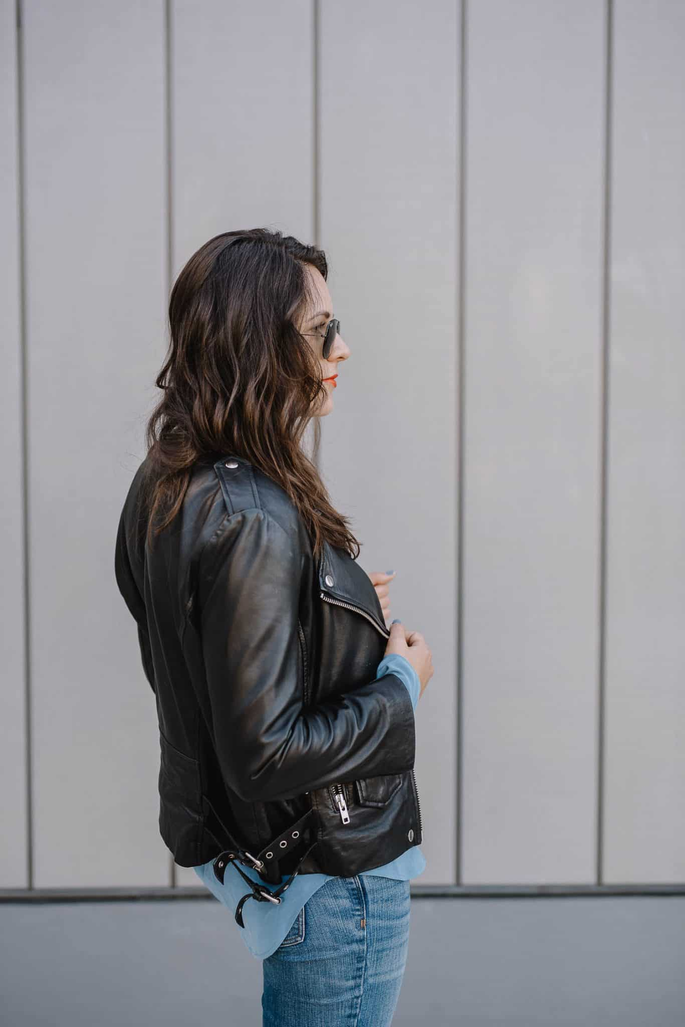 leather jacket and silk button down
