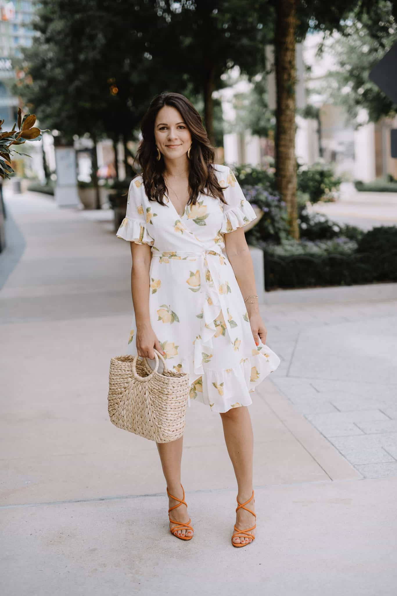 rachel parcell lemon print dress, summer date night outfit - My Style Vita