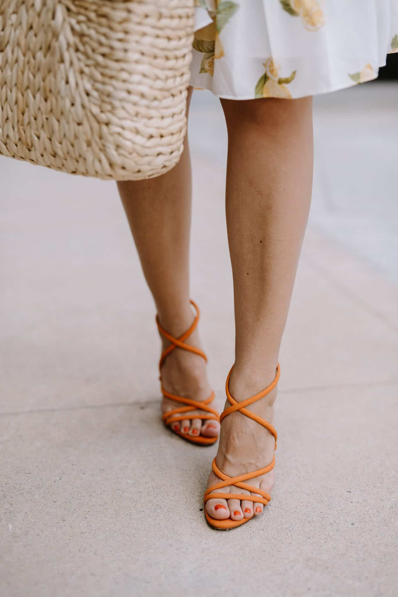 shoe crush, orange Schutz heels, summer accessories - My Style Vita