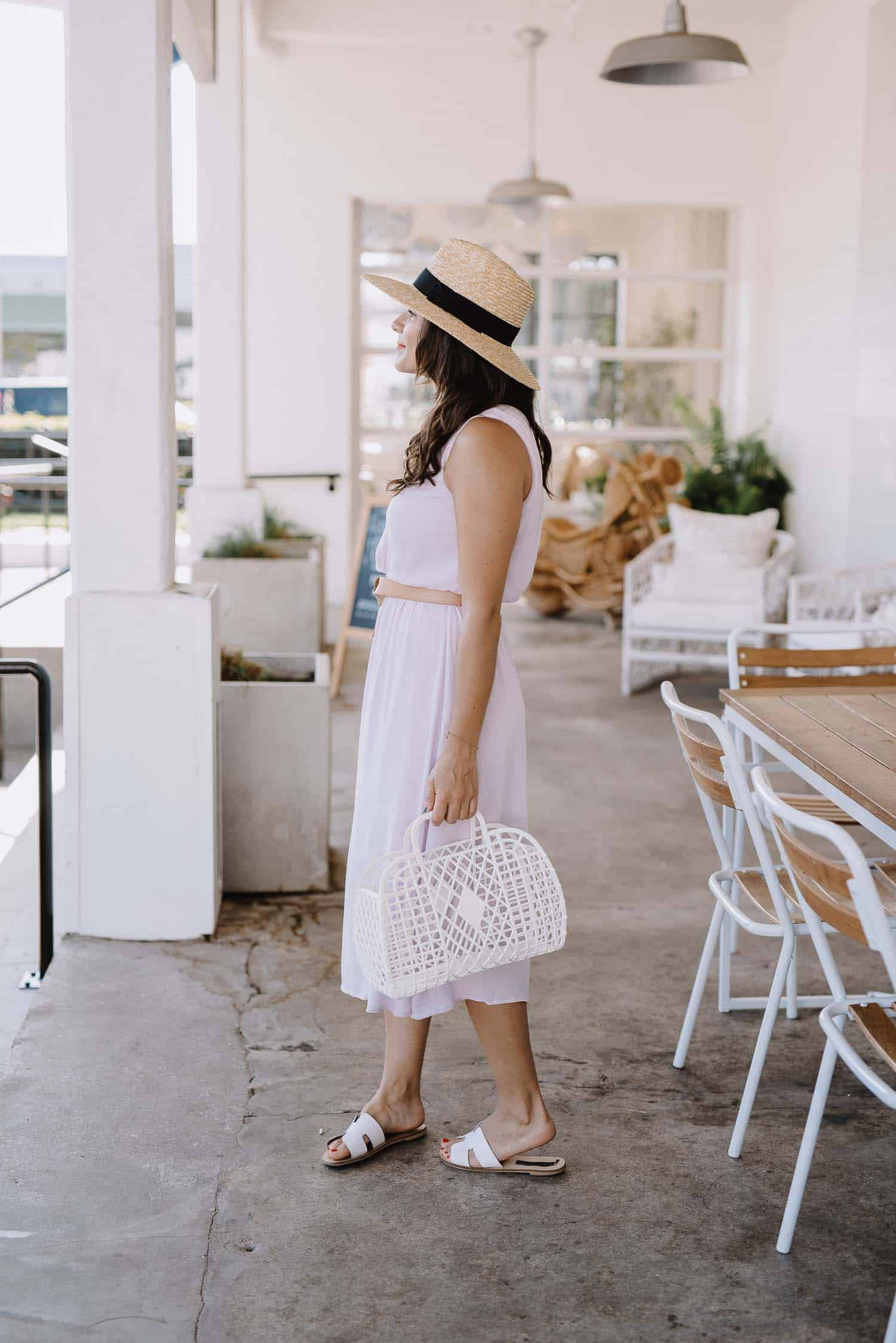 lilac midi dress, summer outfit ideas, straw hat, Atlanta Blogger - My Style Vita