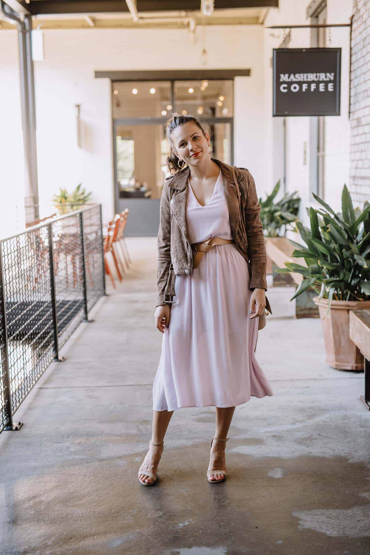 lilac dress and suede jacket, how to dress up a summer dress for fall - My Style Vita-2