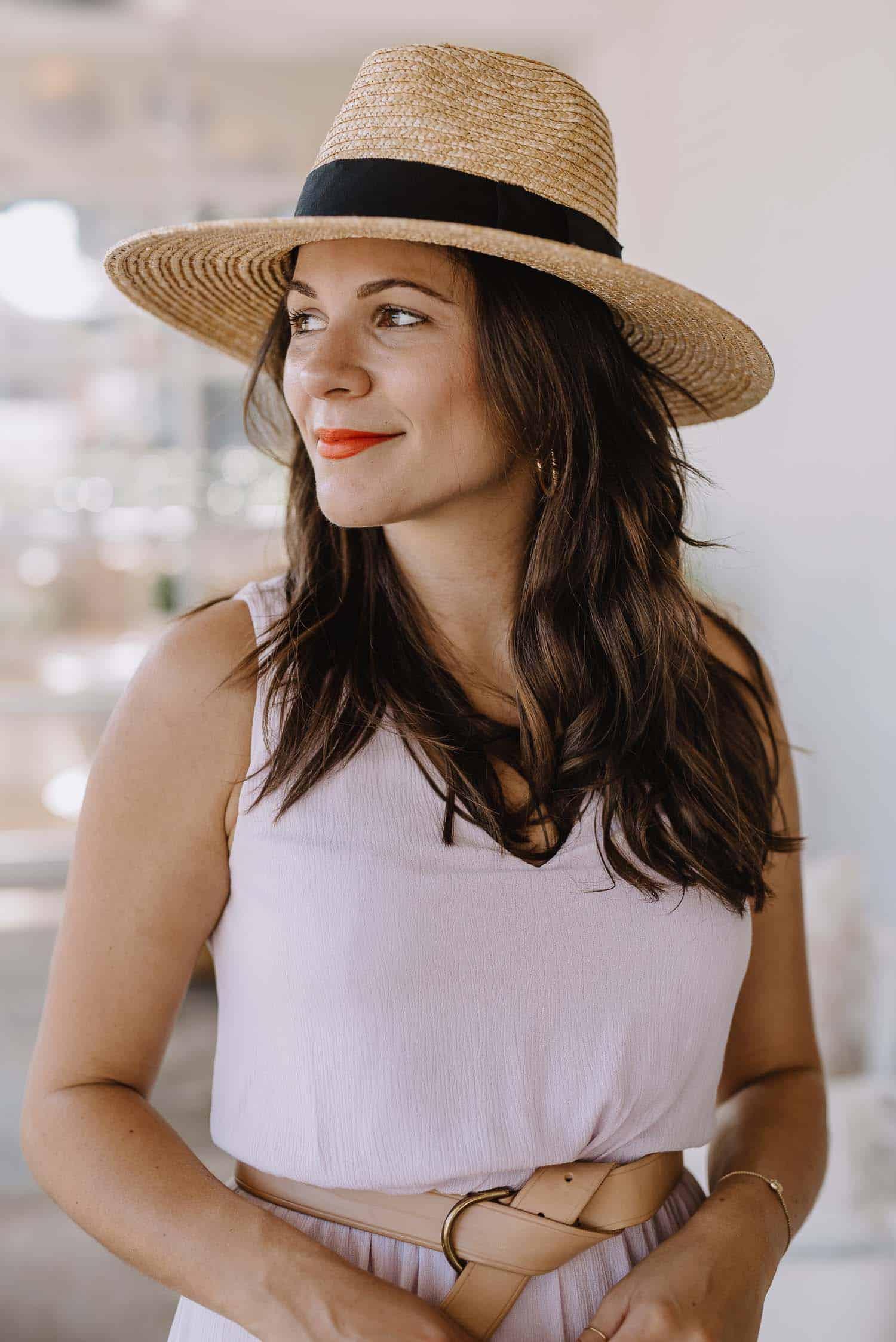 partial balayage, summer outfit ideas, straw hat, Atlanta Blogger - My Style Vita