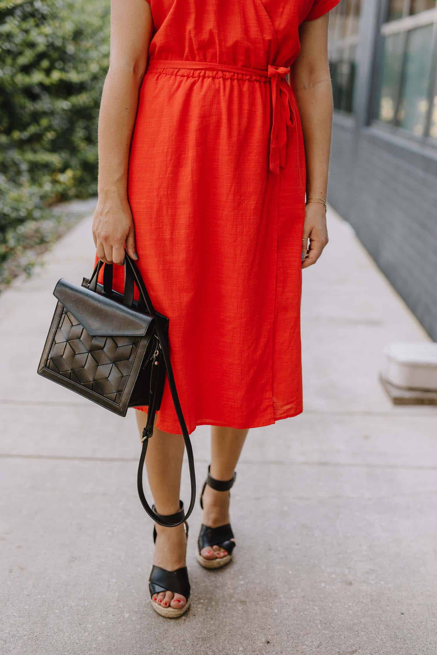 red wrap dress, affordable dresses for summer, espadrilles - My Style Vita