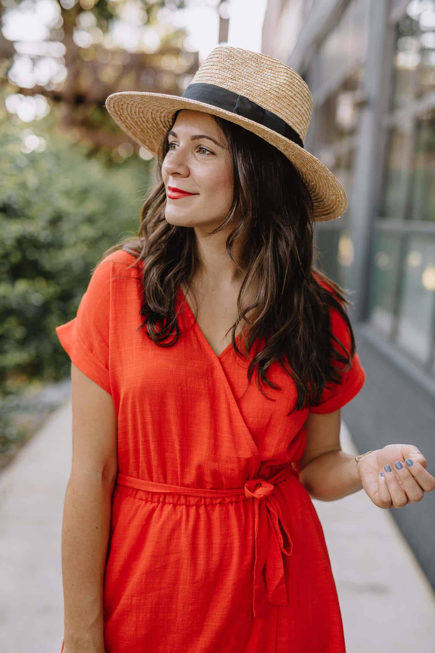 red wrap dress, affordable dresses for summer, best summer hat - My Style Vita