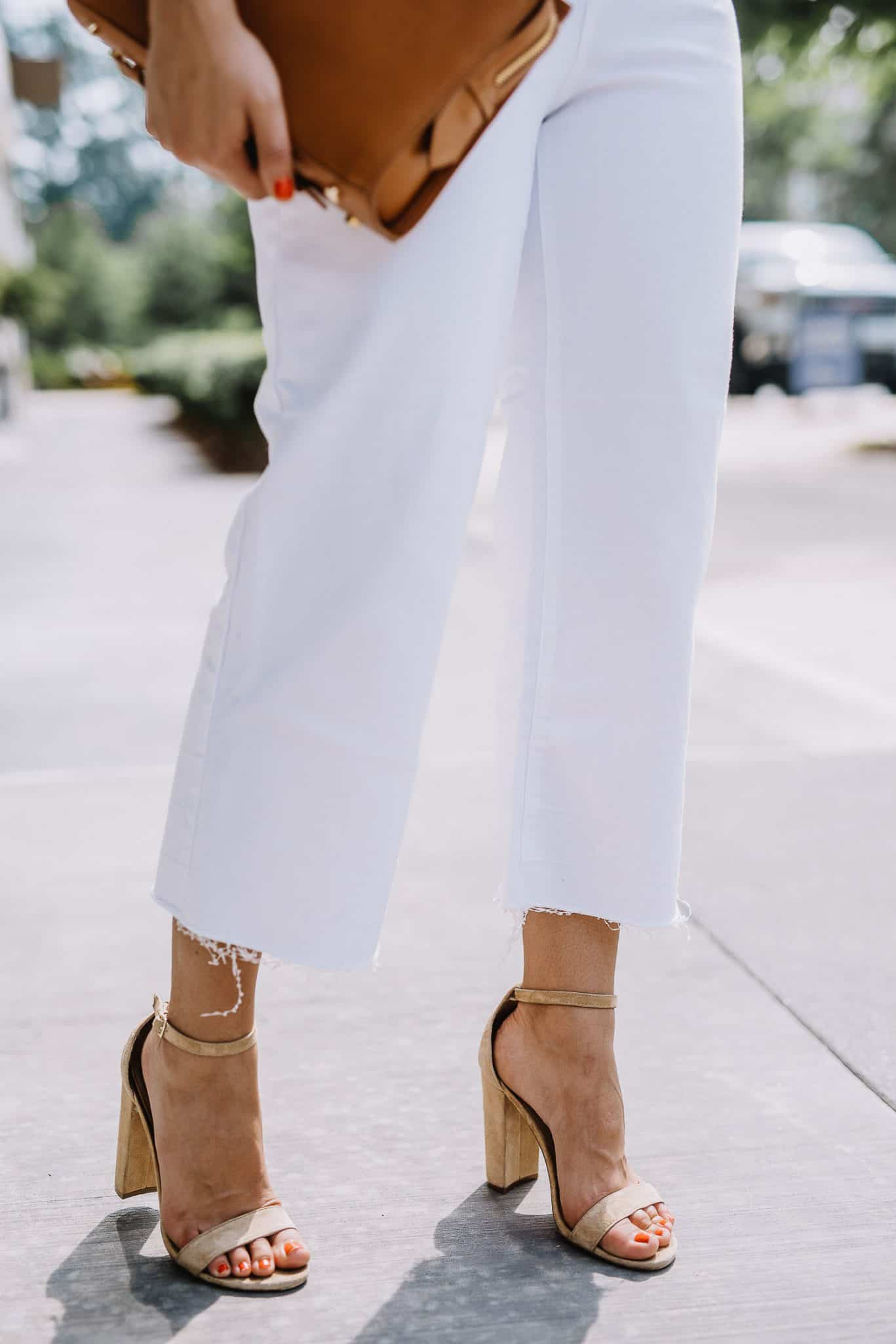 white culottes with nude suede heels