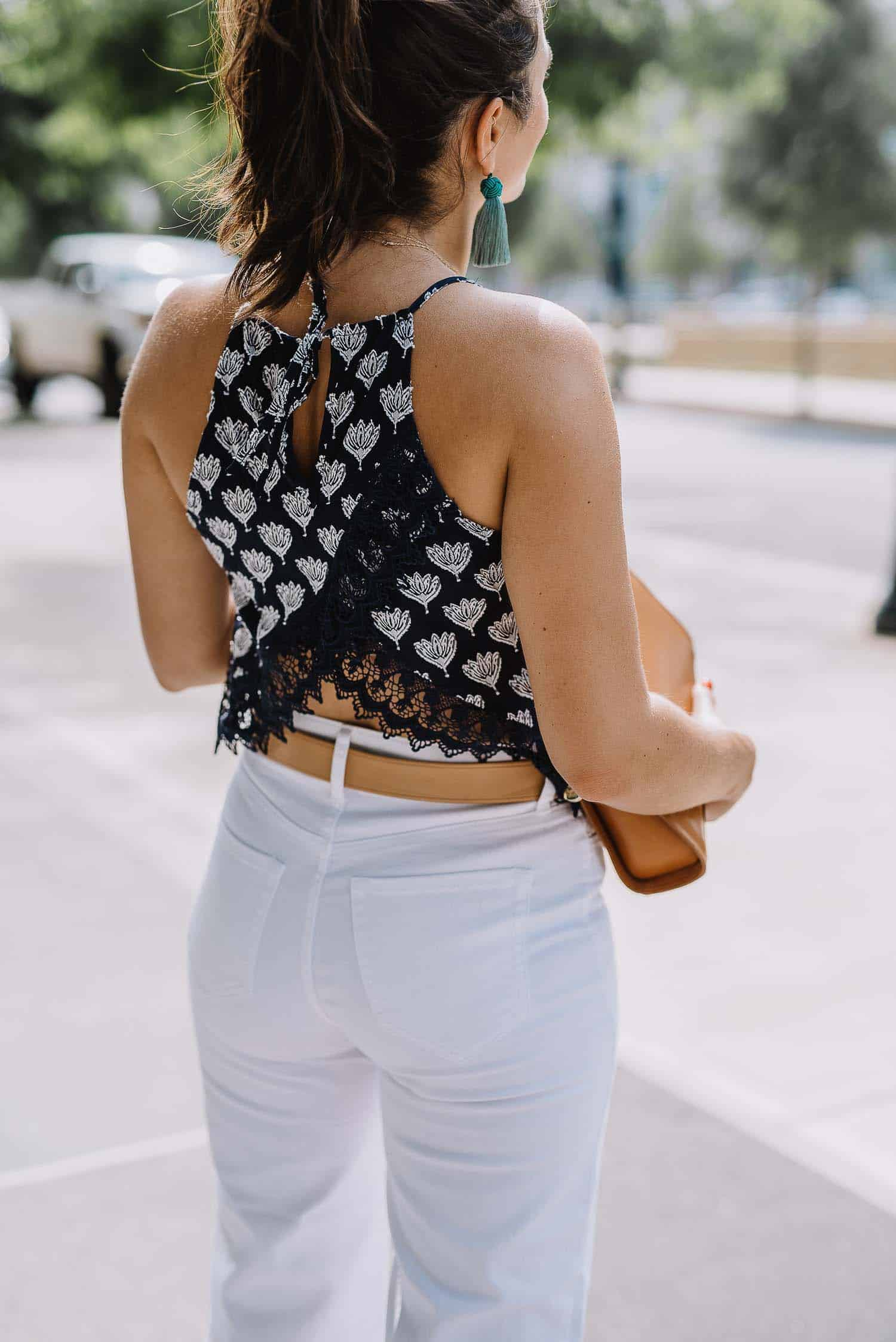 lace detail and open back summer top
