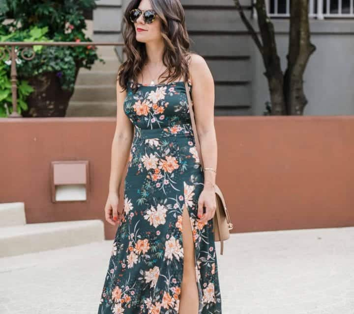 green floral maxi dress, how to dress up or down a maxi dress for fall - My Style Vita