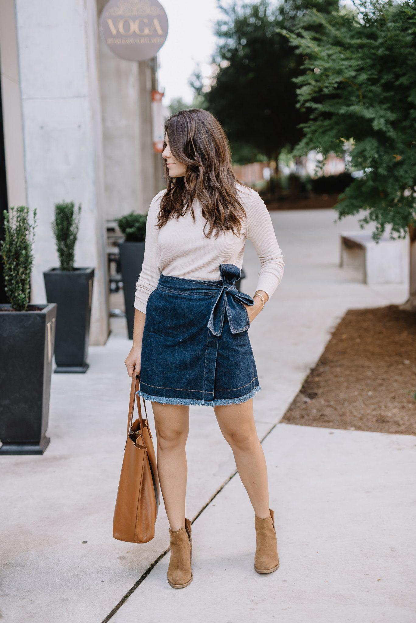 wrap denim mini skirt - My Style Vita