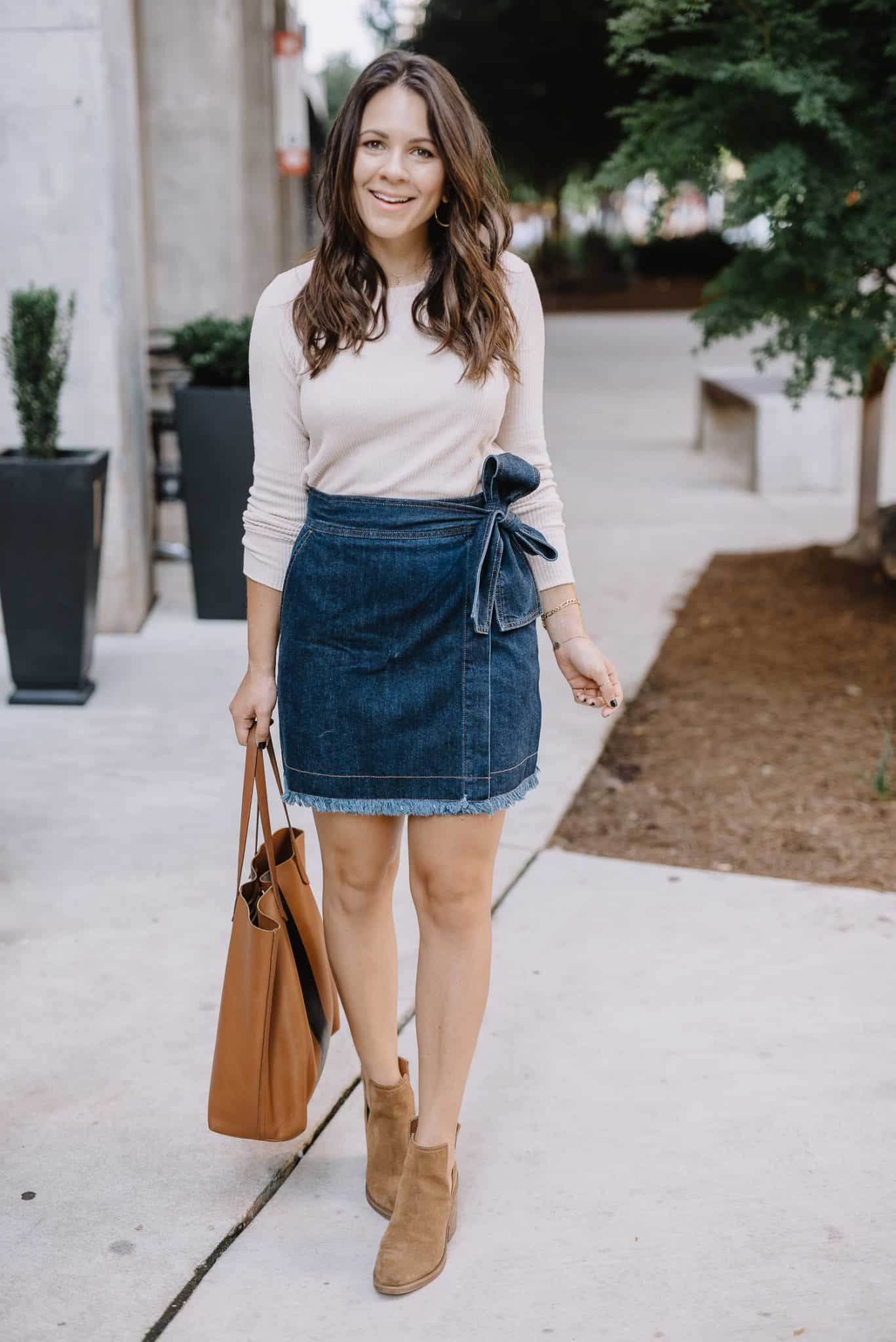 A Classic Denim Mini Skirt Styled For Summer And Fall - My Style Vita