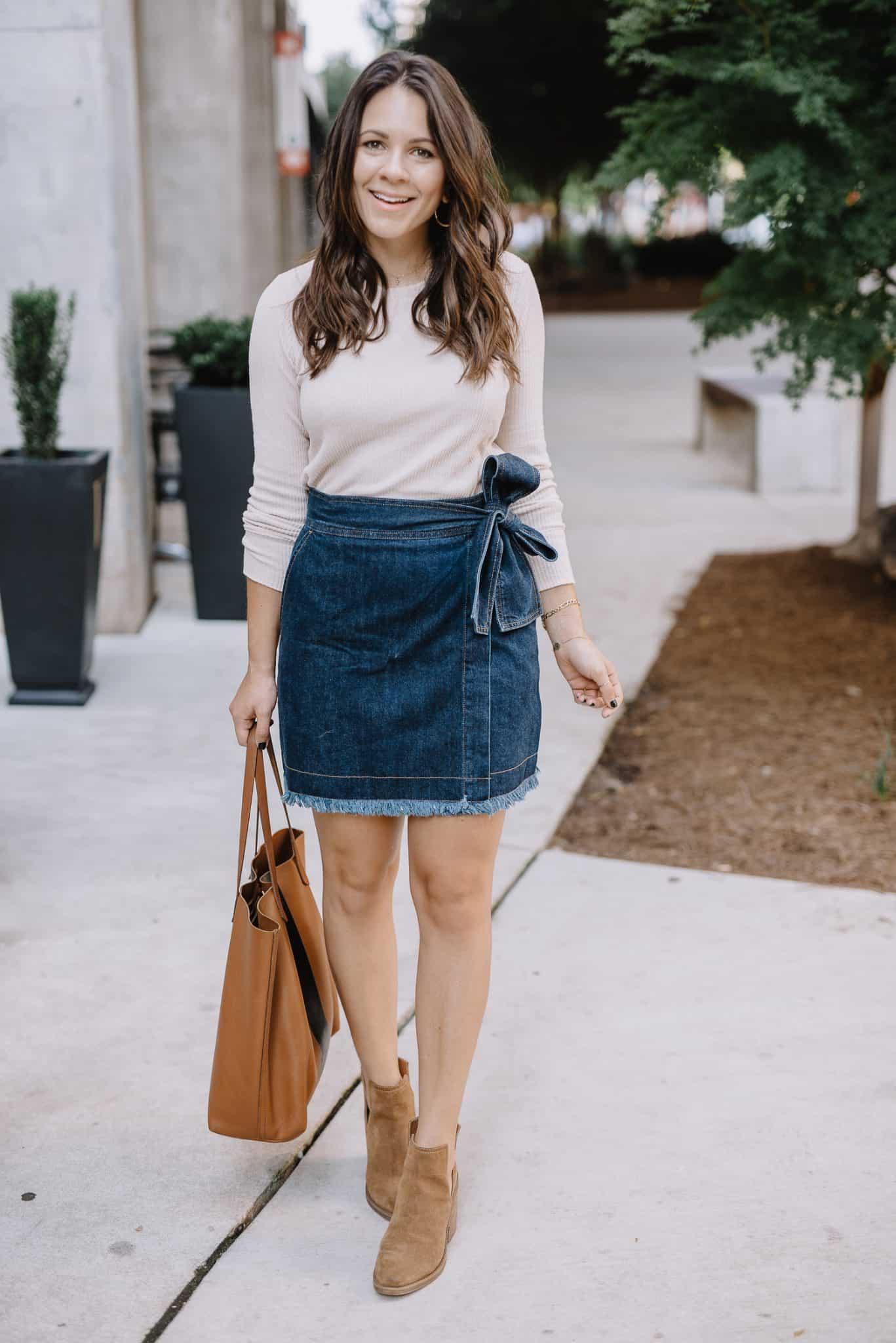 Madewell x Karen Walker Denim Skirt, how to transition your denim skirt from summer to fall - My Style Vita