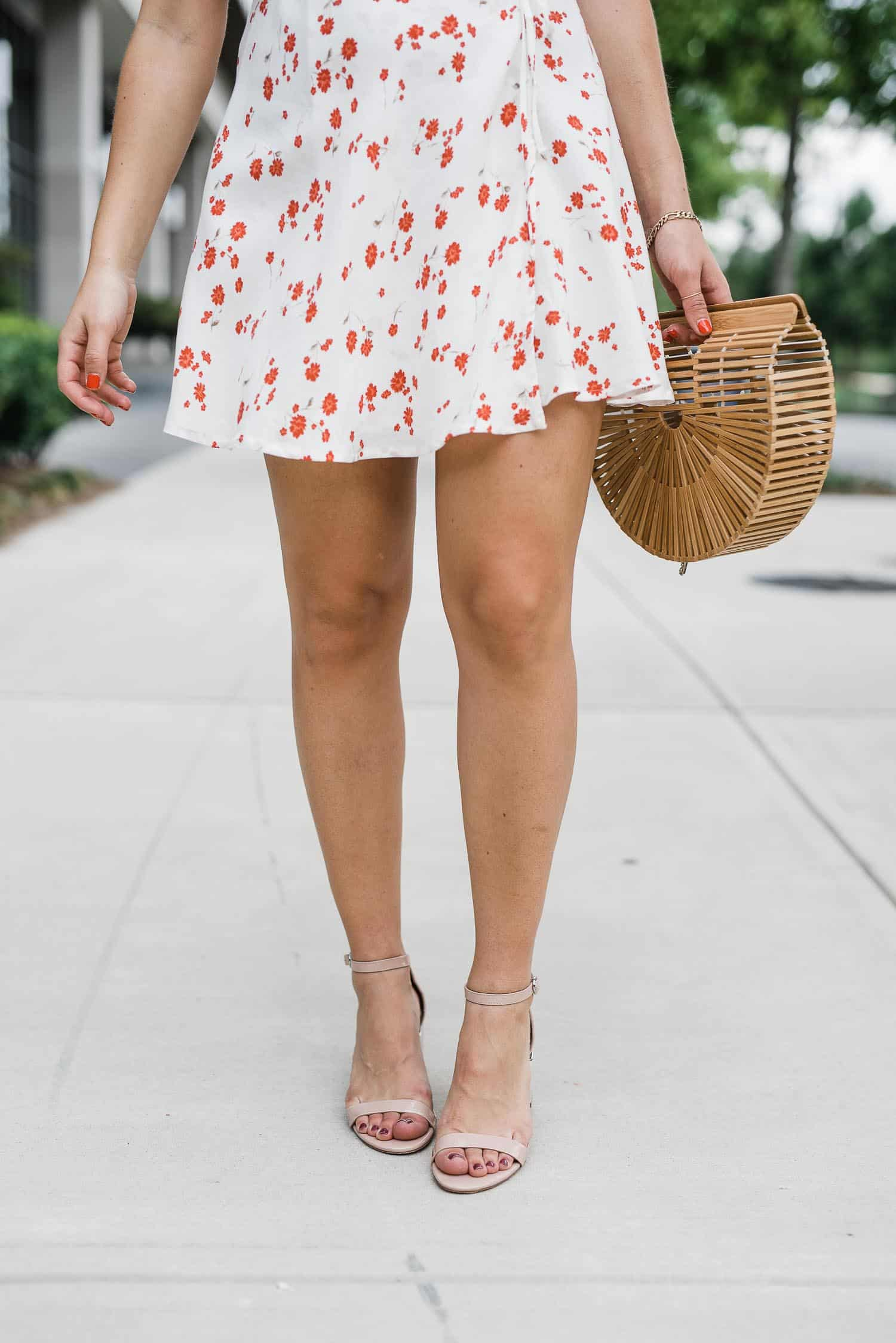 nude sandals with a mini dress