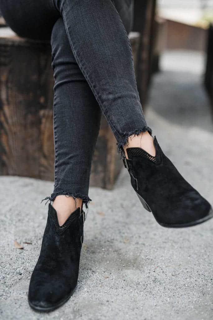 Vince Camuto flat blaack booties, black jeans and coffee