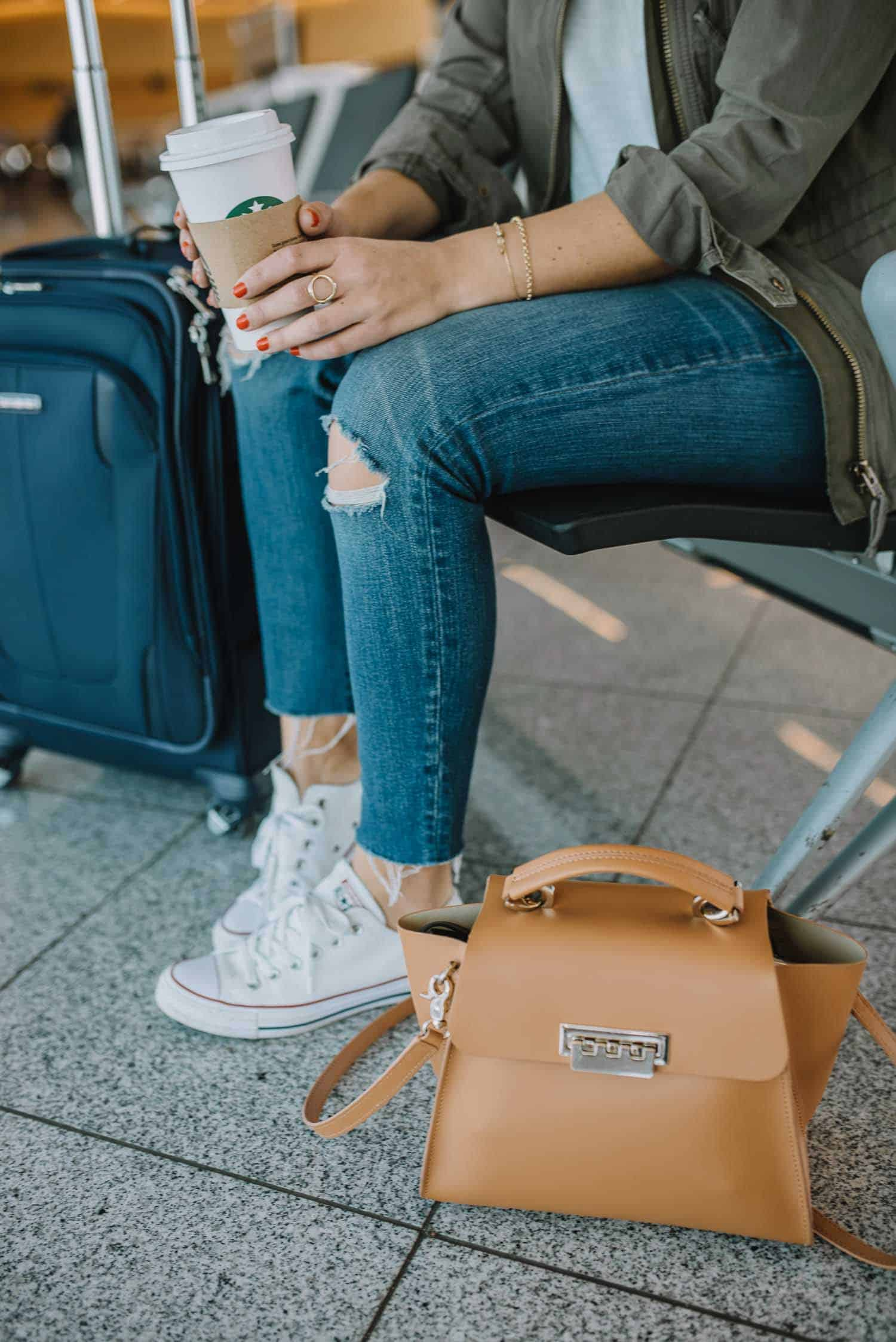 stylish airport outfit, what to wear to the airport - My Style Vita