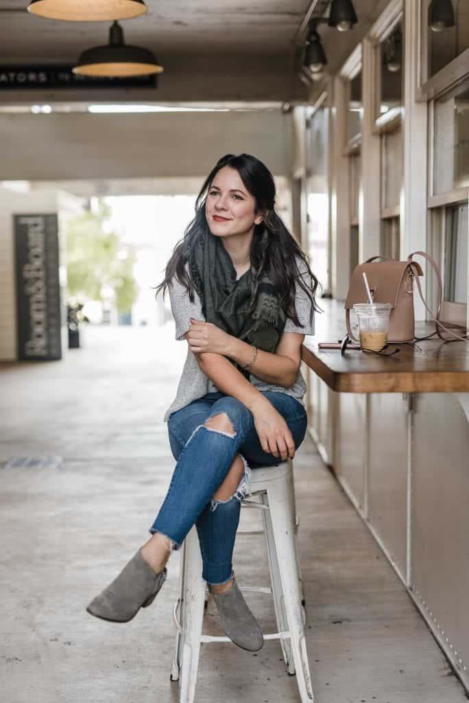 fashion blogger My Style Vita, green plaid blanket scarf
