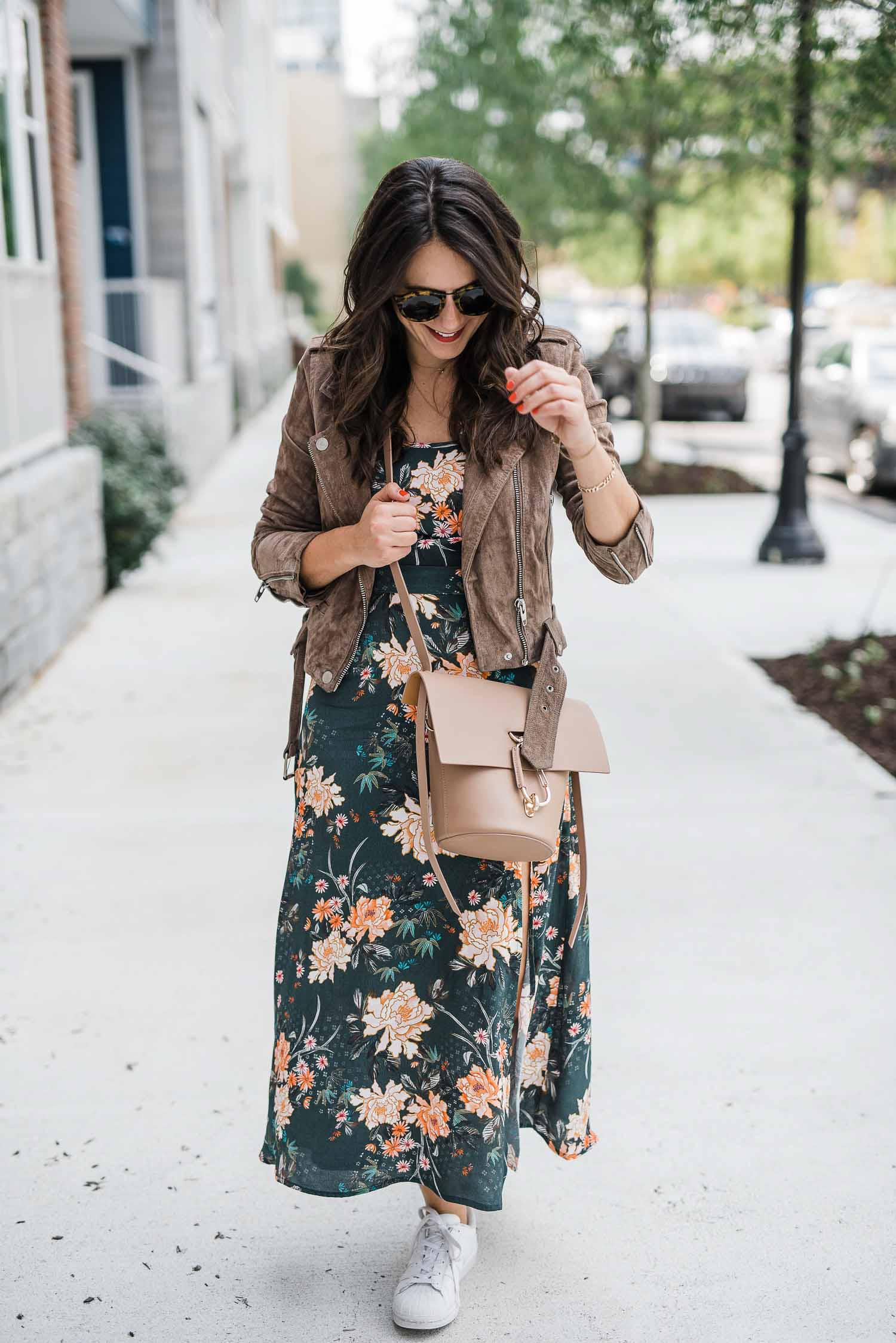 suede jacket with floral maxi dress, maxi dress with adidas, how to wear adidas with a dress - My Style Vita