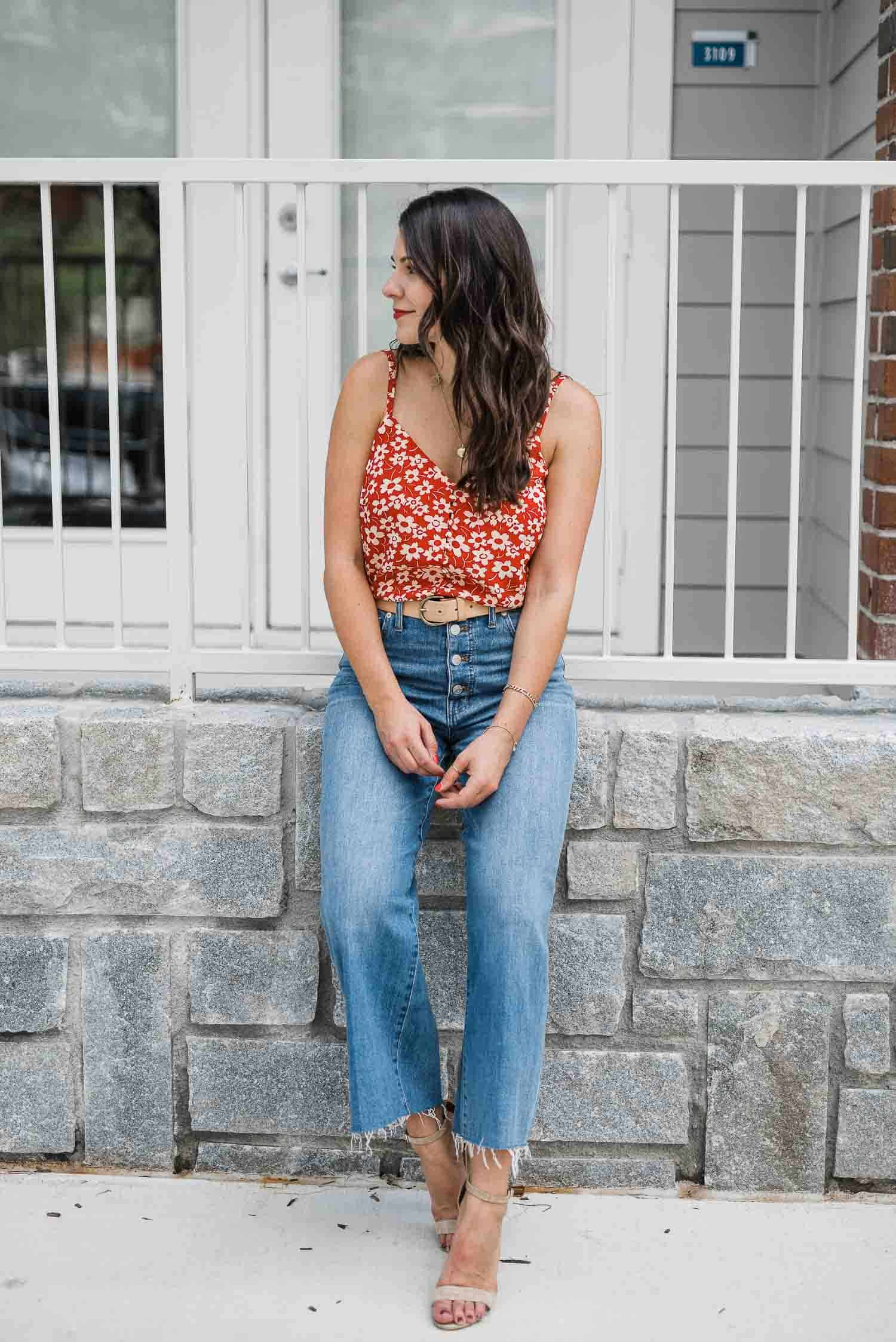 how to style culottes, floral tank, madewell outfit - My Style Vita