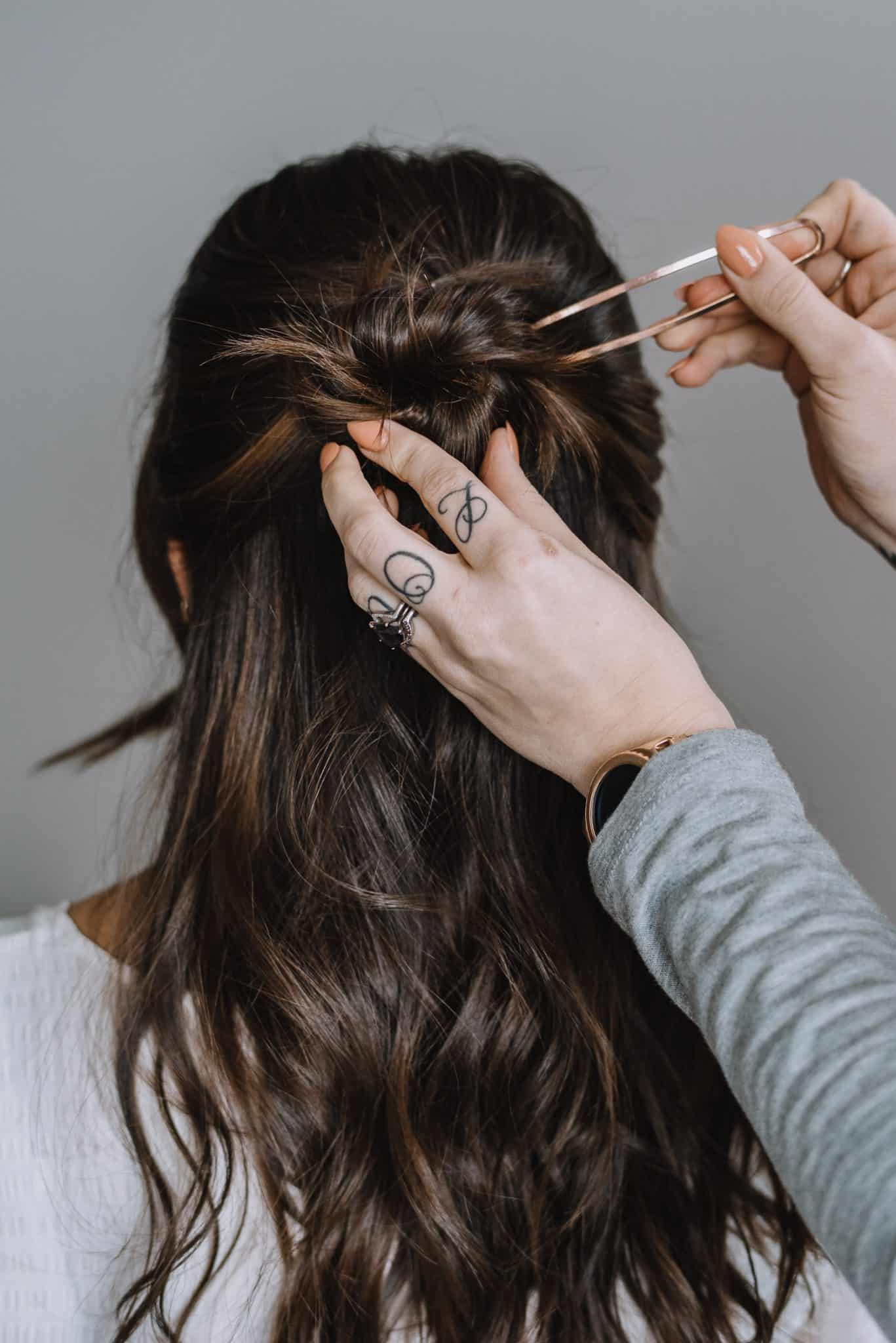 How To Do A Half Up Bun With A Pin - Step Four