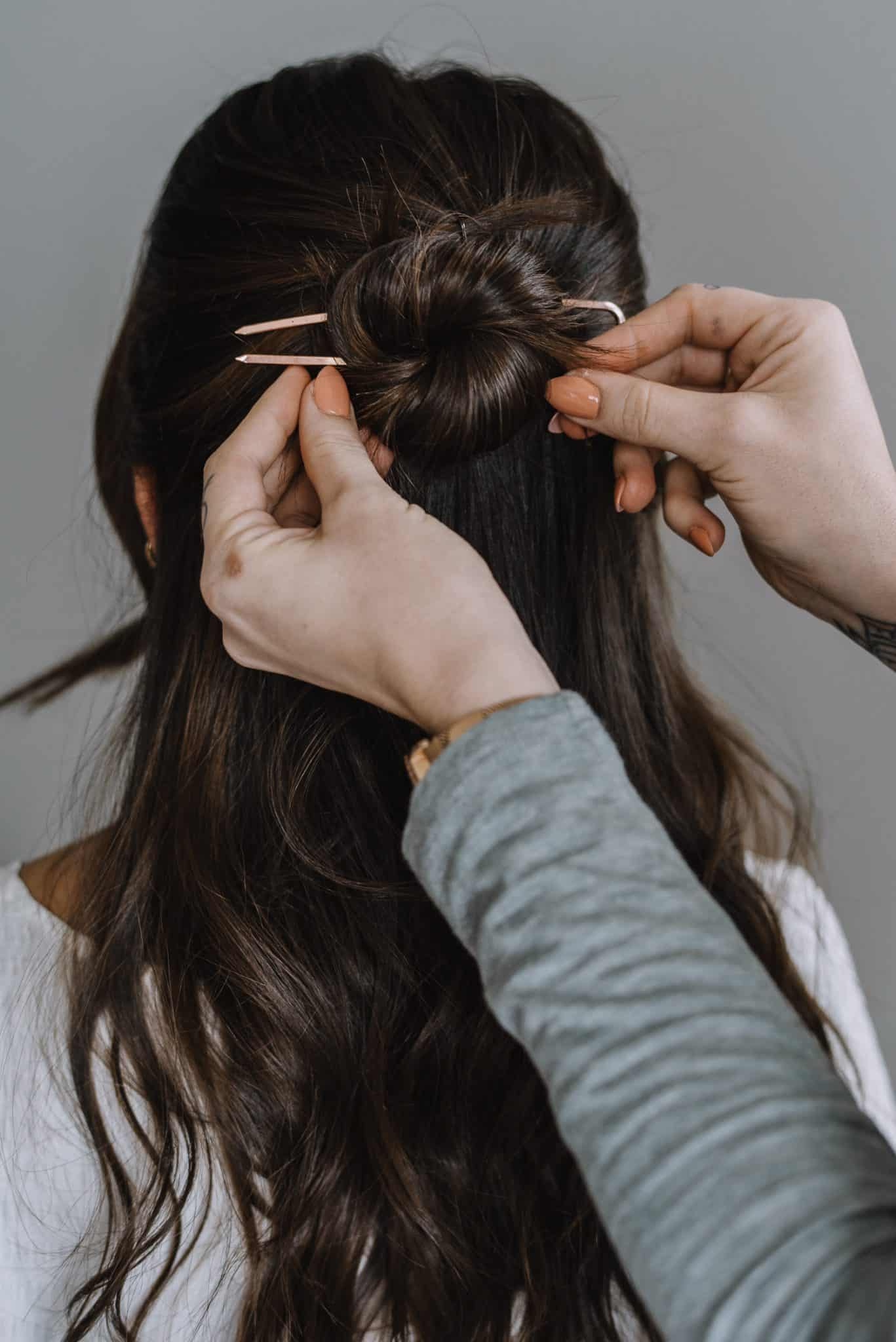 Half Up Bun With A Hair Pin by Jessica Camerata