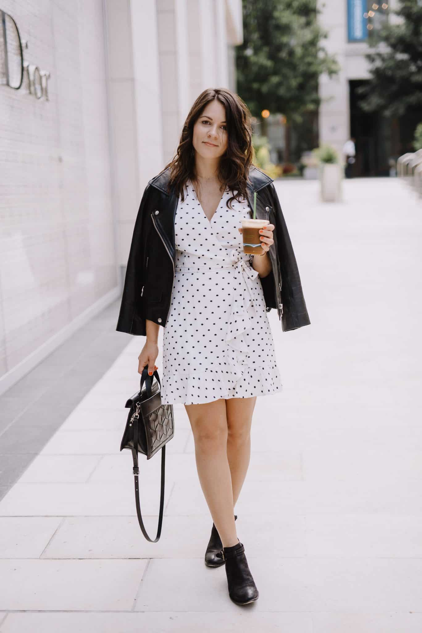 leather jacket and white dress, boots and dress outfit ideas - My Style Vita