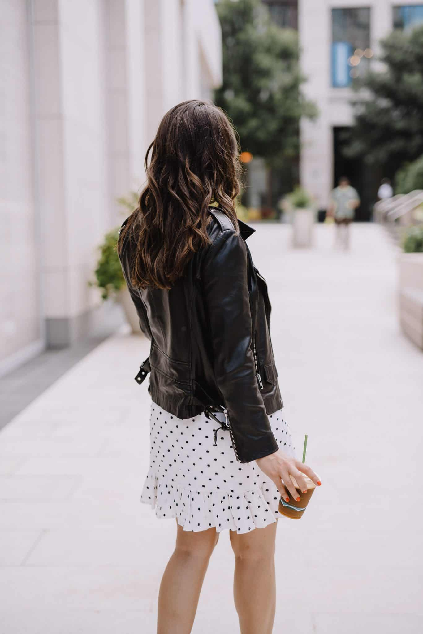 white wrap dress, leather jacket and white dress - My Style Vita