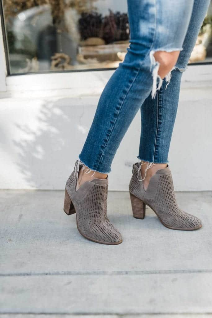 perforated booties, heeled bootie