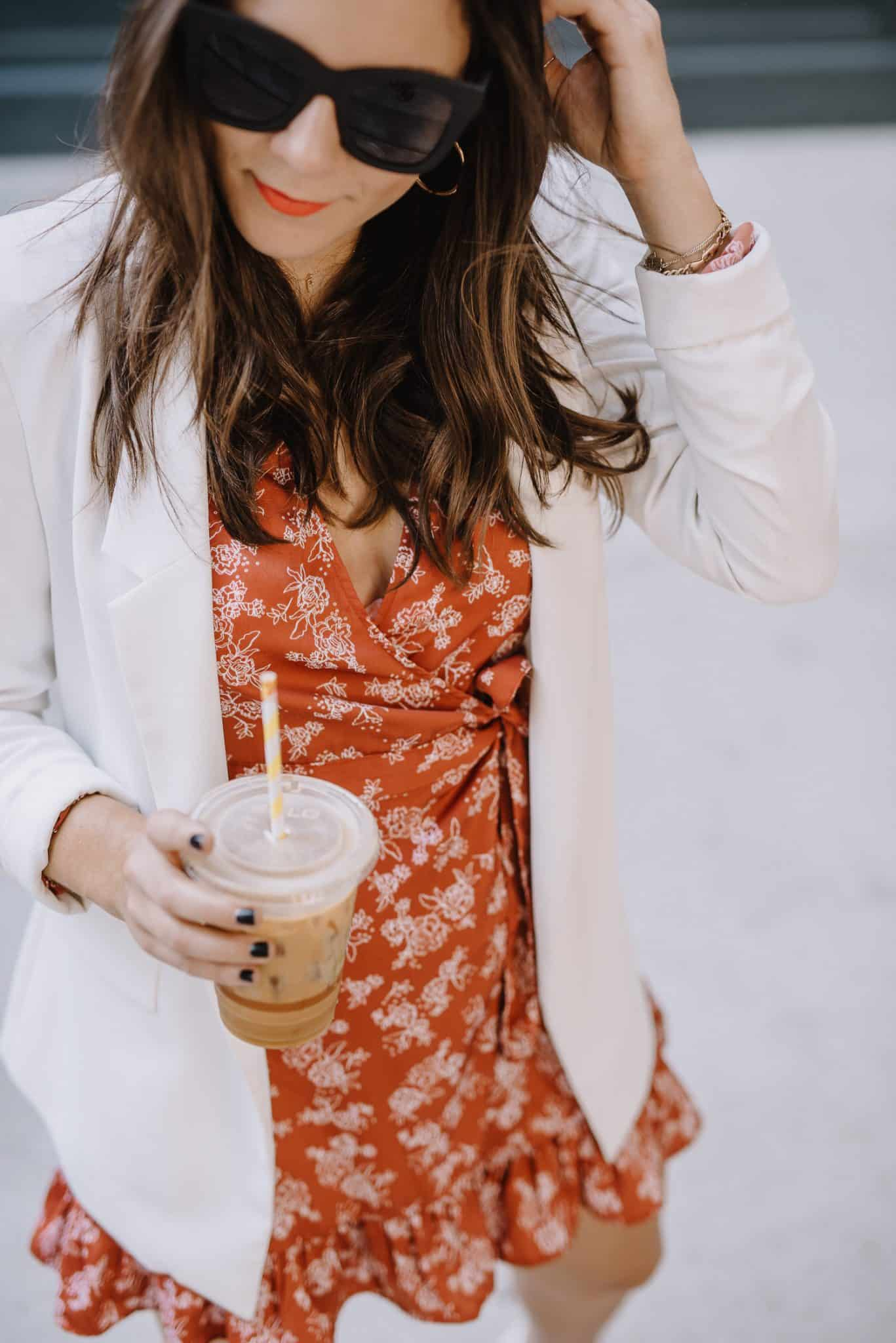 coffee, floral warp dress and blazer - My Style Vita