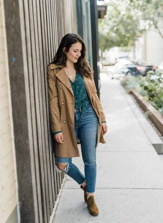 Abercrombie trench, green wrap shirt, fall outfit ideas - My Style Vita-1
