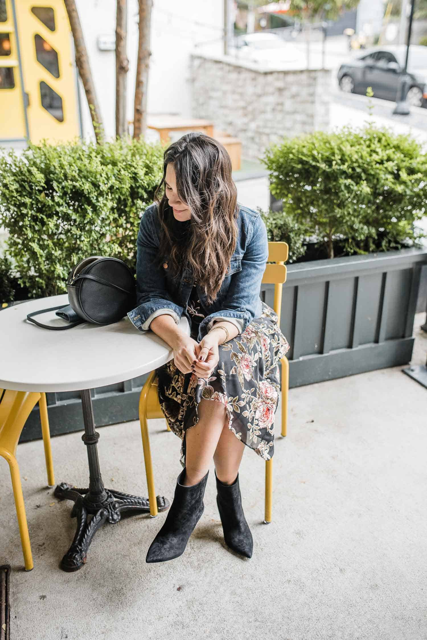 Vince Camuto Floral Dress • Vince Camuto Regina Boot • Madewell Jacket