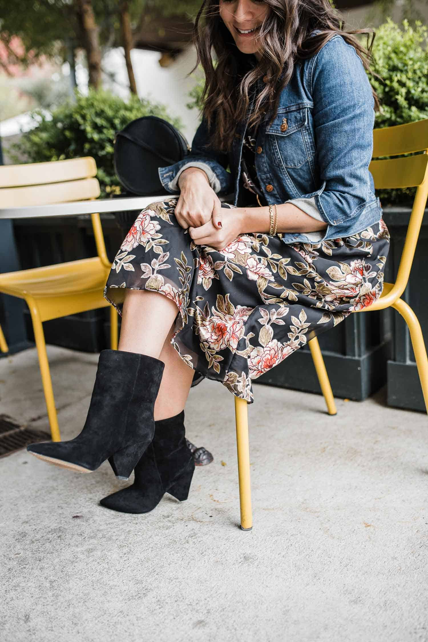 Vince Camuto Floral Dress • Vince Camuto Regina Boot • Madewell Jacket - My Style Vita