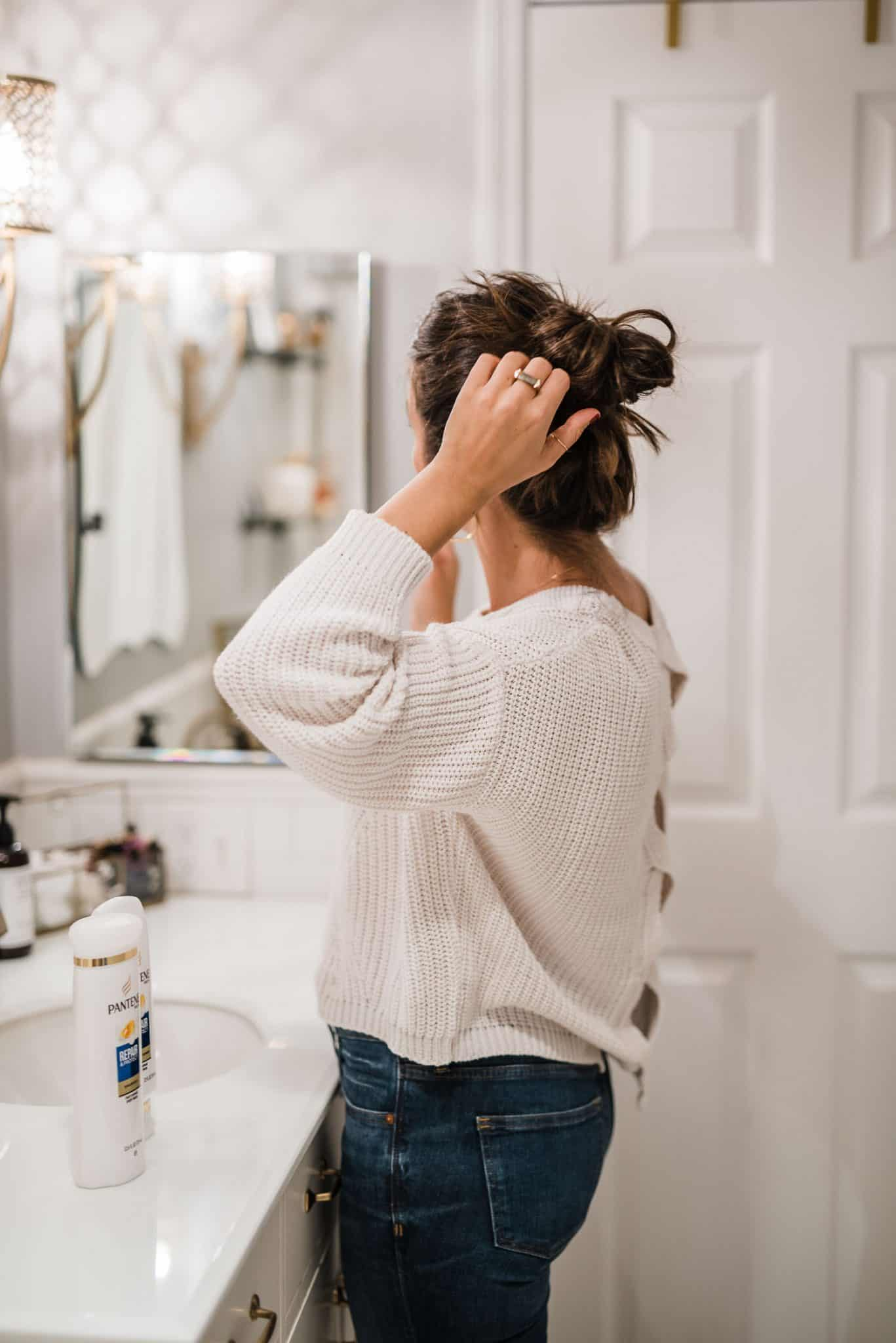 Tips for healthier hair, stronger hair, long brown balayage hair, topknot, top knot ideas - My Style Vita